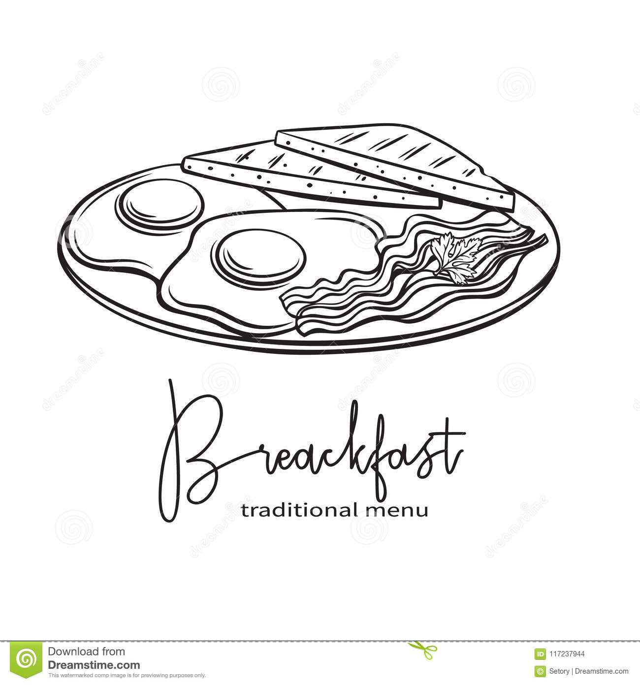 Plate Of Breakfast With Fried Eggs, Stock Vector ...