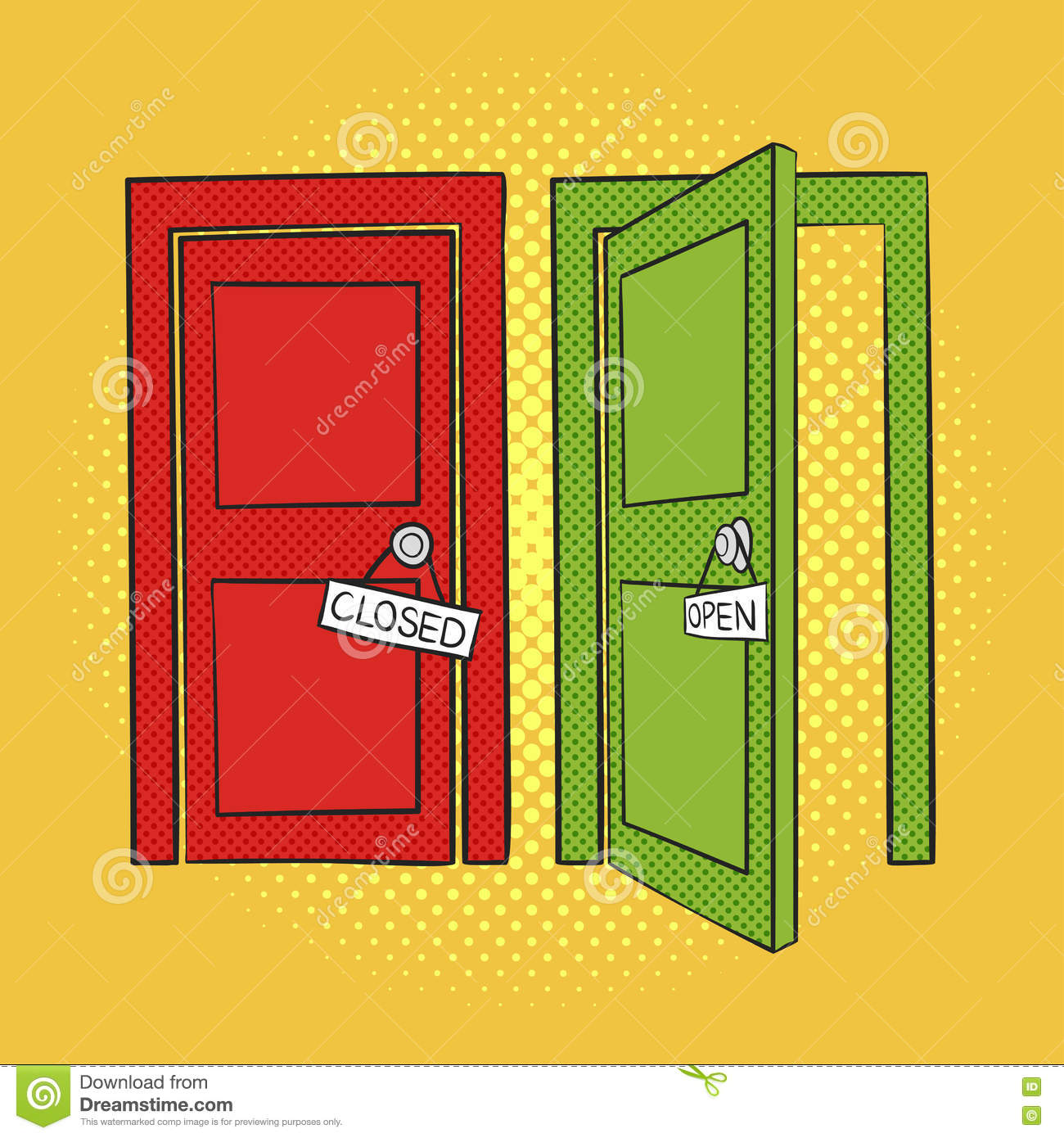 Royalty-Free Vector  sc 1 st  Dreamstime.com & Vector Hand Drawn Pop Art Illustration Of Doors. Open And Closed ... pezcame.com