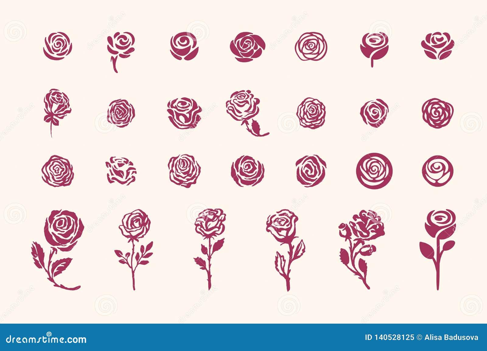 Vector hand drawn rose symbol simple sketch illustration on light background