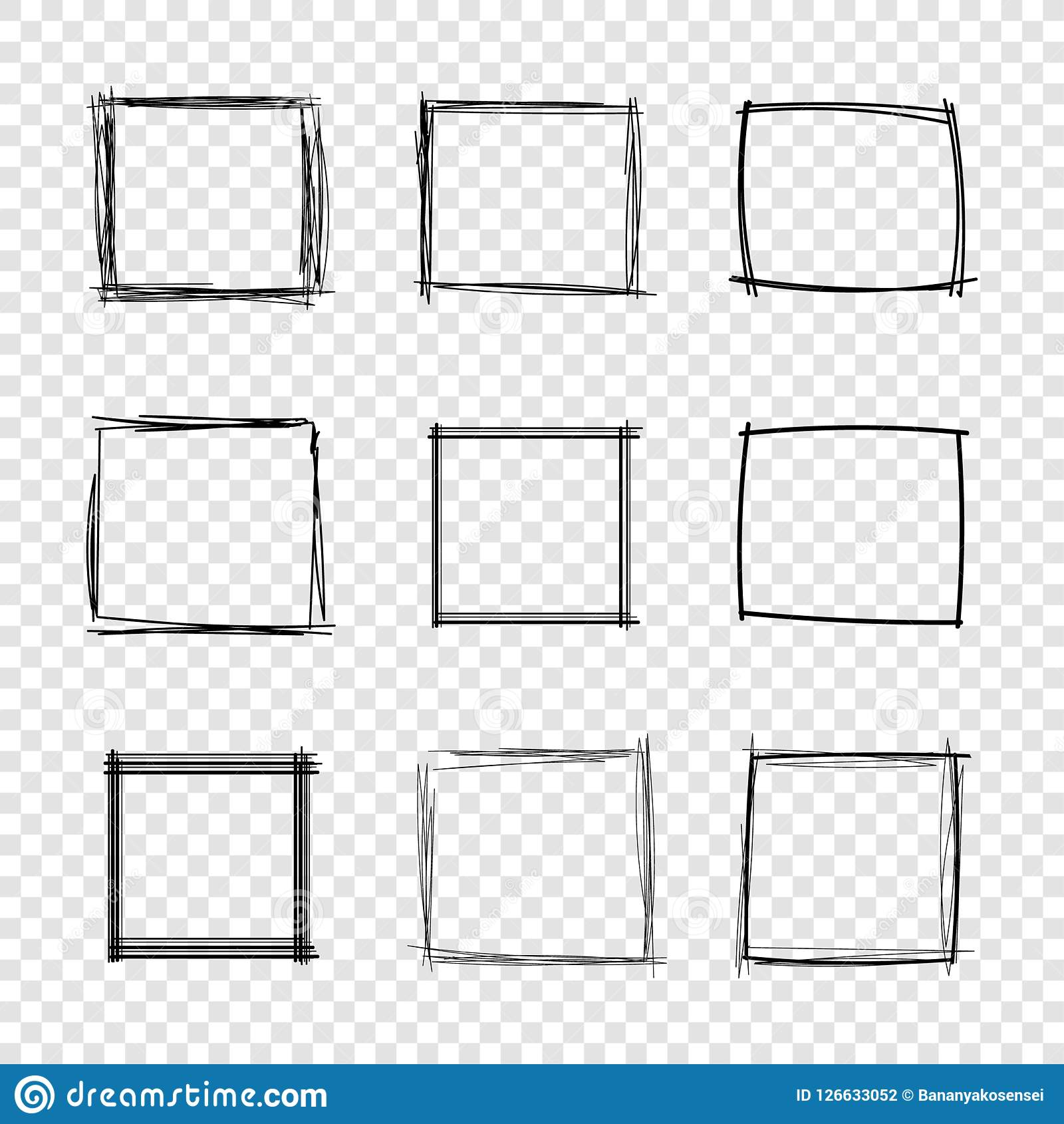 Vector Hand Drawn Scribble Square Frames On Transparent Background ...