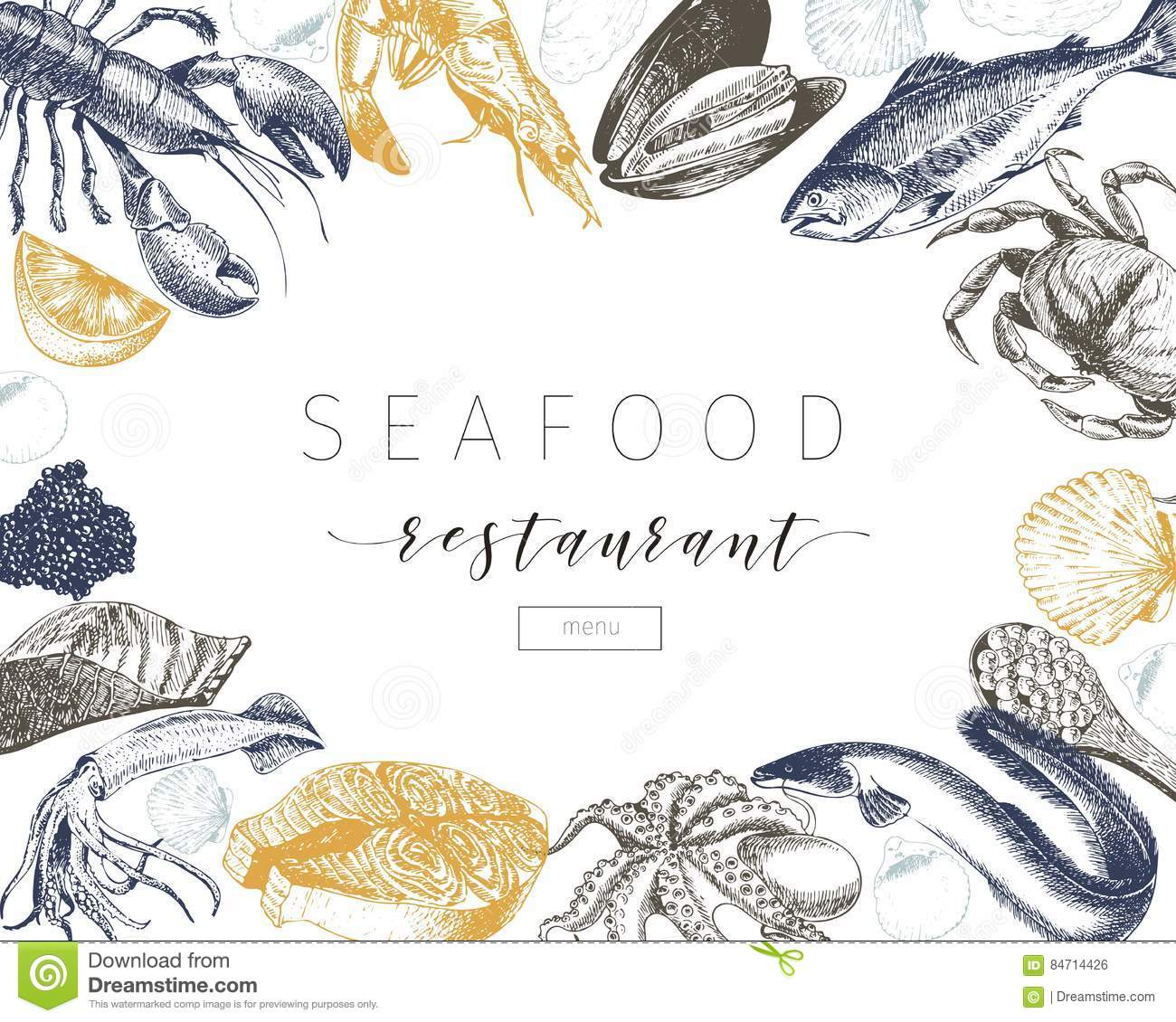 Vector Hand Drawn Seafood Banner.Lobster, Salmon, Crab, Shrimp, Ocotpus, Squid, Clams. Stock ...