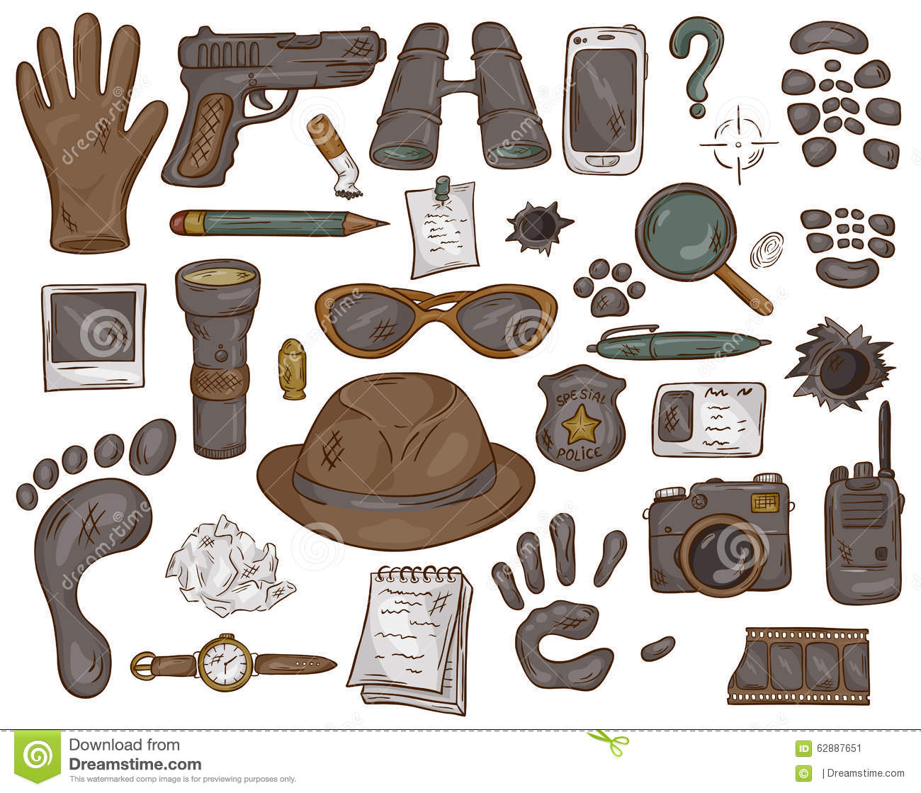 Vector hand drawn set of illustration with detective tools and evidence