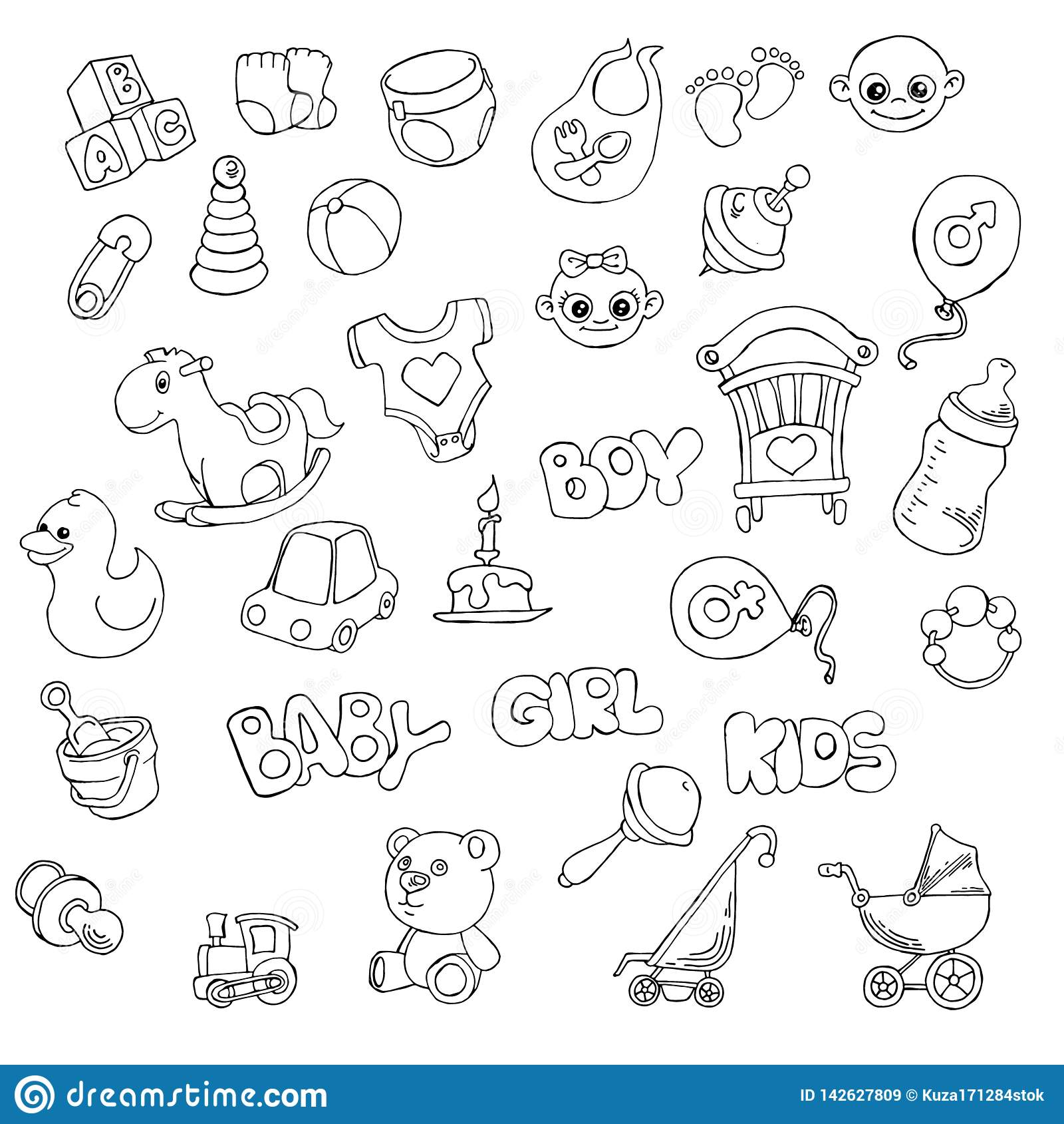 Vector Hand Drawn Set Of Newborn Baby Care Cartoon Doodle ...
