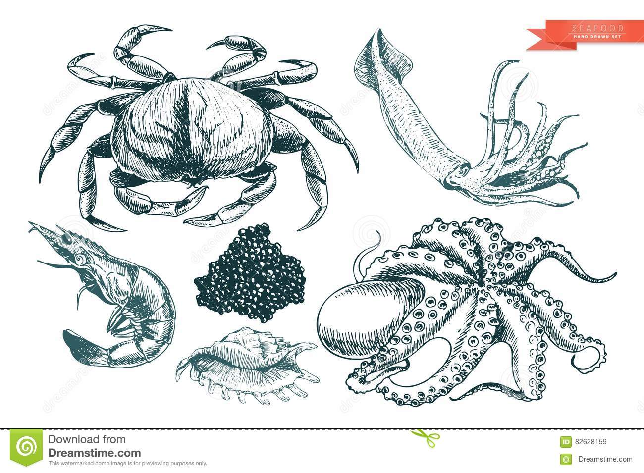 2a086ac9 Vector Hand Drawn Set Of Seafood Icons. Crab, Shrimp, Squid, Octopus ...