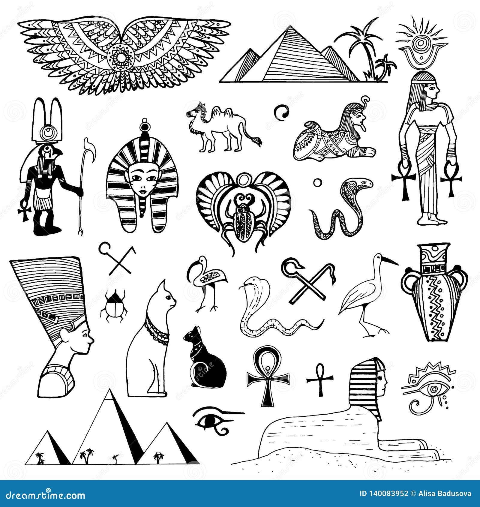 beb48b2a24884 Vector Hand Drawn Sketch Of Egypt Symbols Illustration On White ...