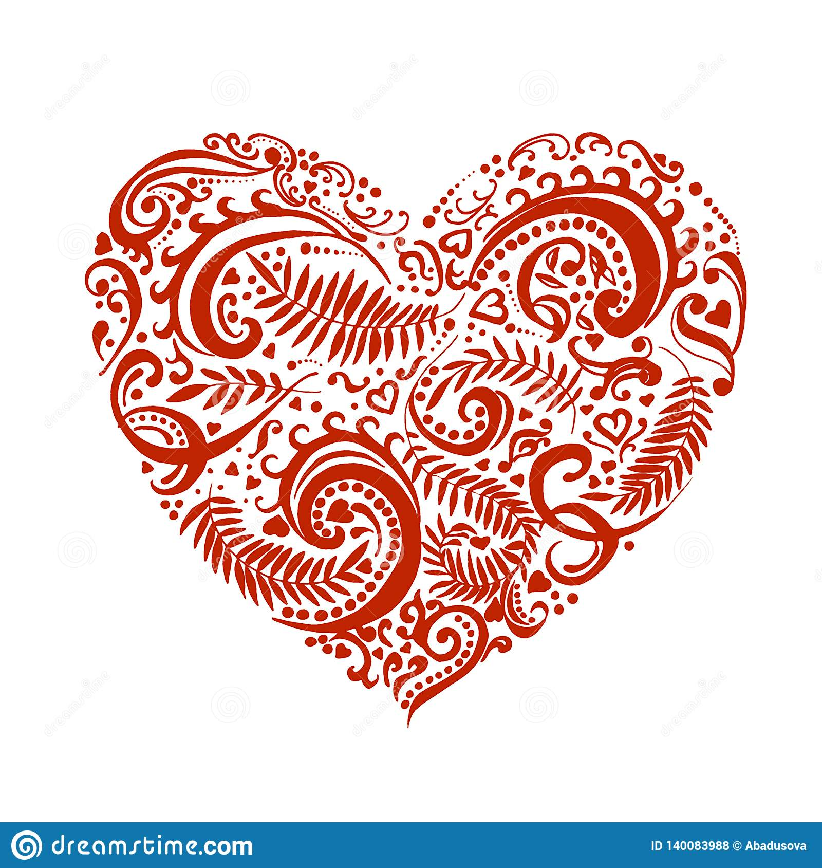 Vector Hand drawn sketch of heart with ornaments illustration on white background