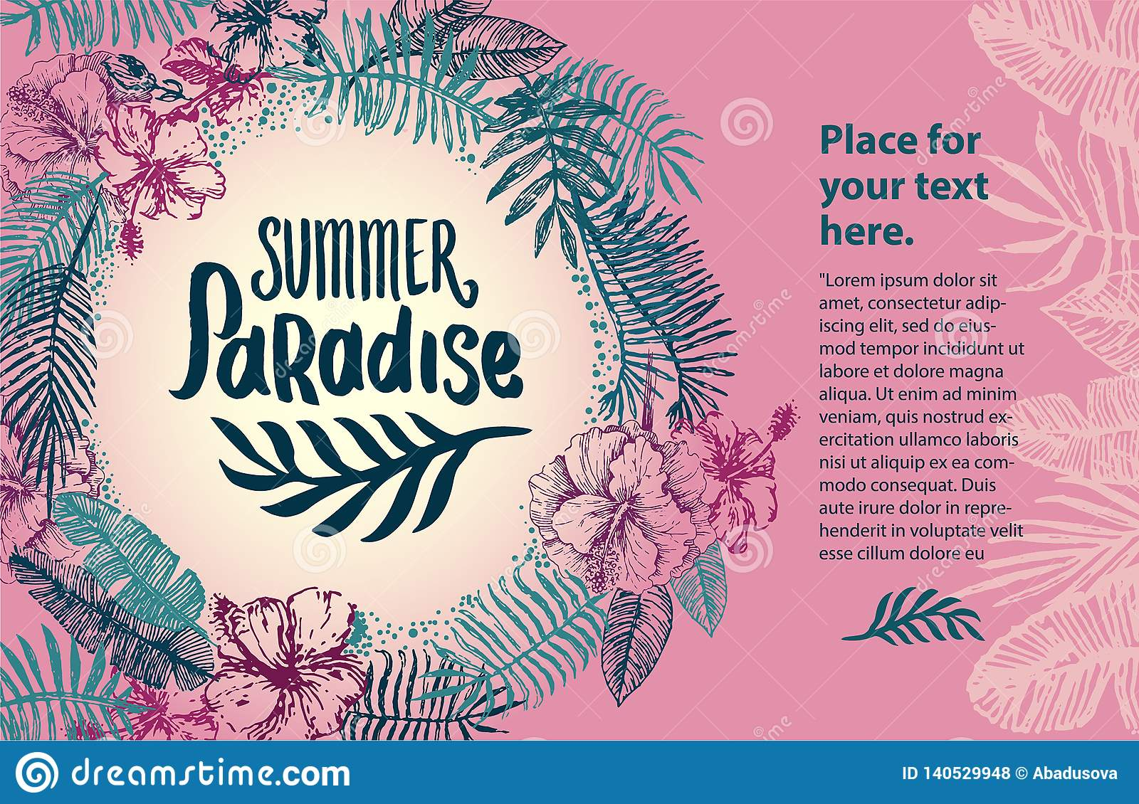 Vector hand drawn Summer time quote lettering illustration with tropical elements