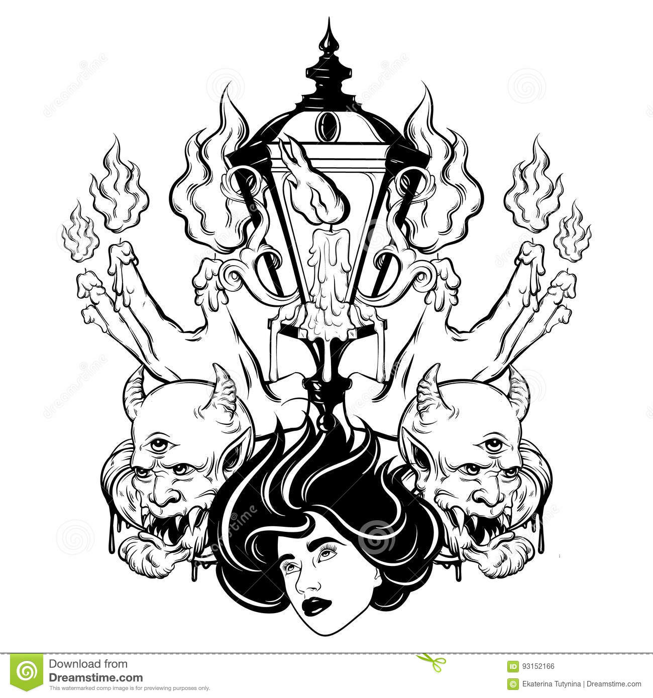 Vector Hand Drawn Surreal Illustration Of Melting Hands, Woman Face ...