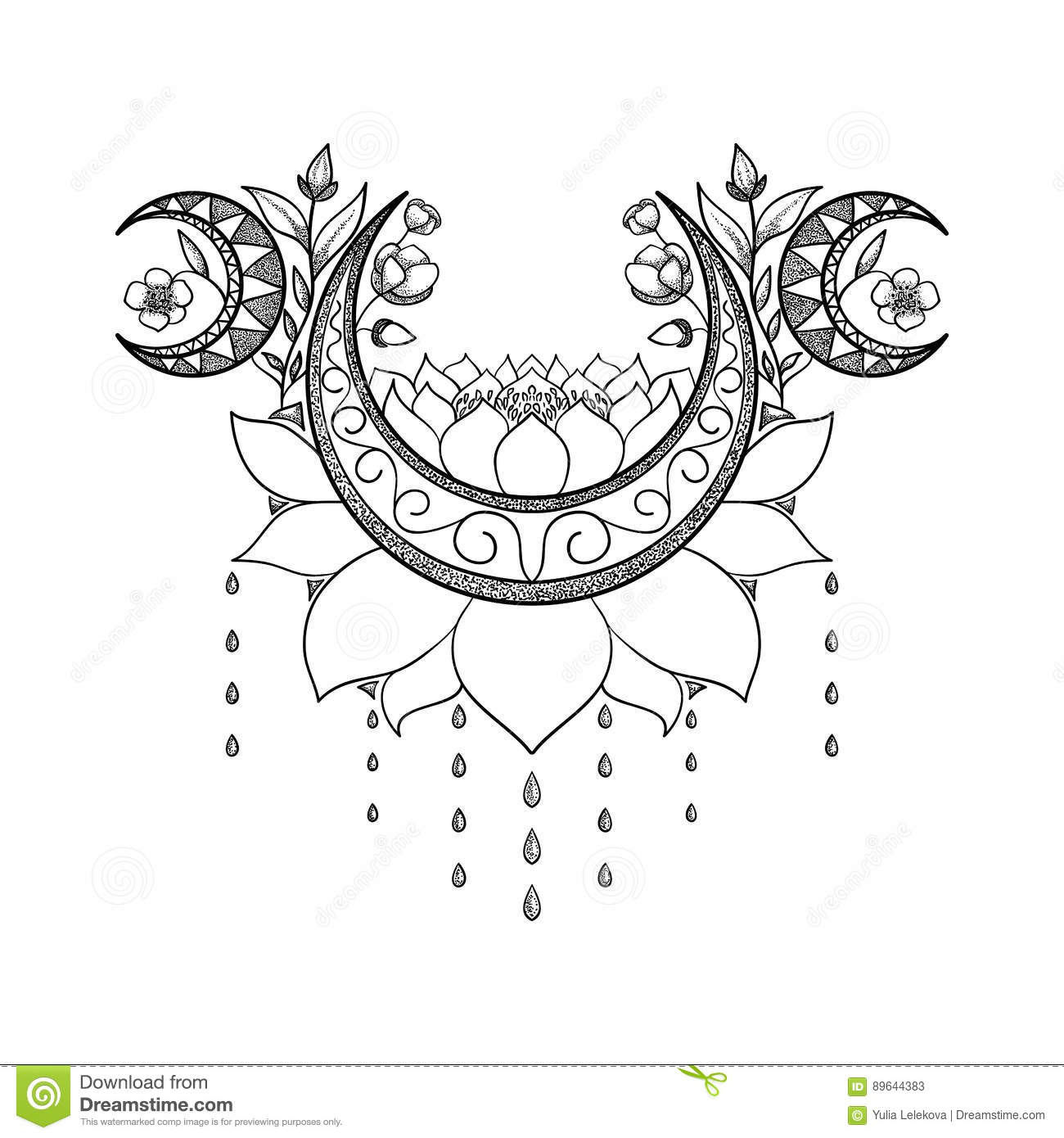 Vector Hand Drawn Tattoo Design Crescent Moon Lotus And Flowers Composition Sacred Theme