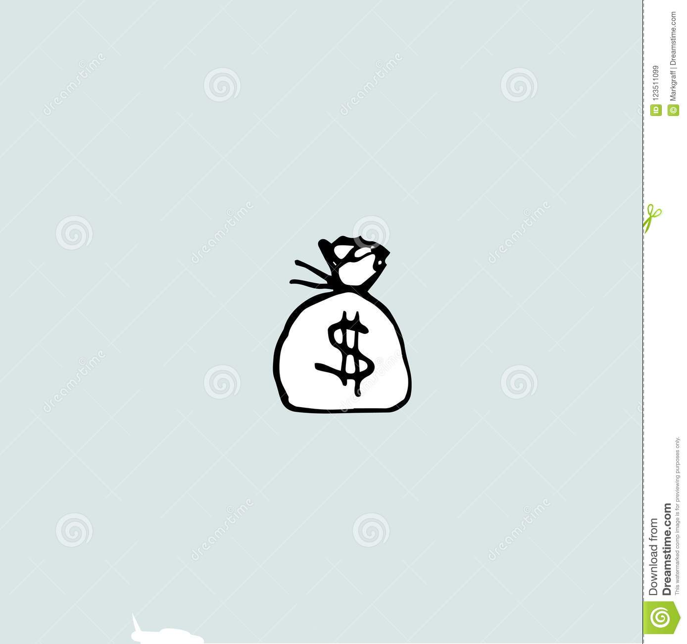 Drawing Of A Money Bag, Bag And Dollar Sign Stock Vector ...