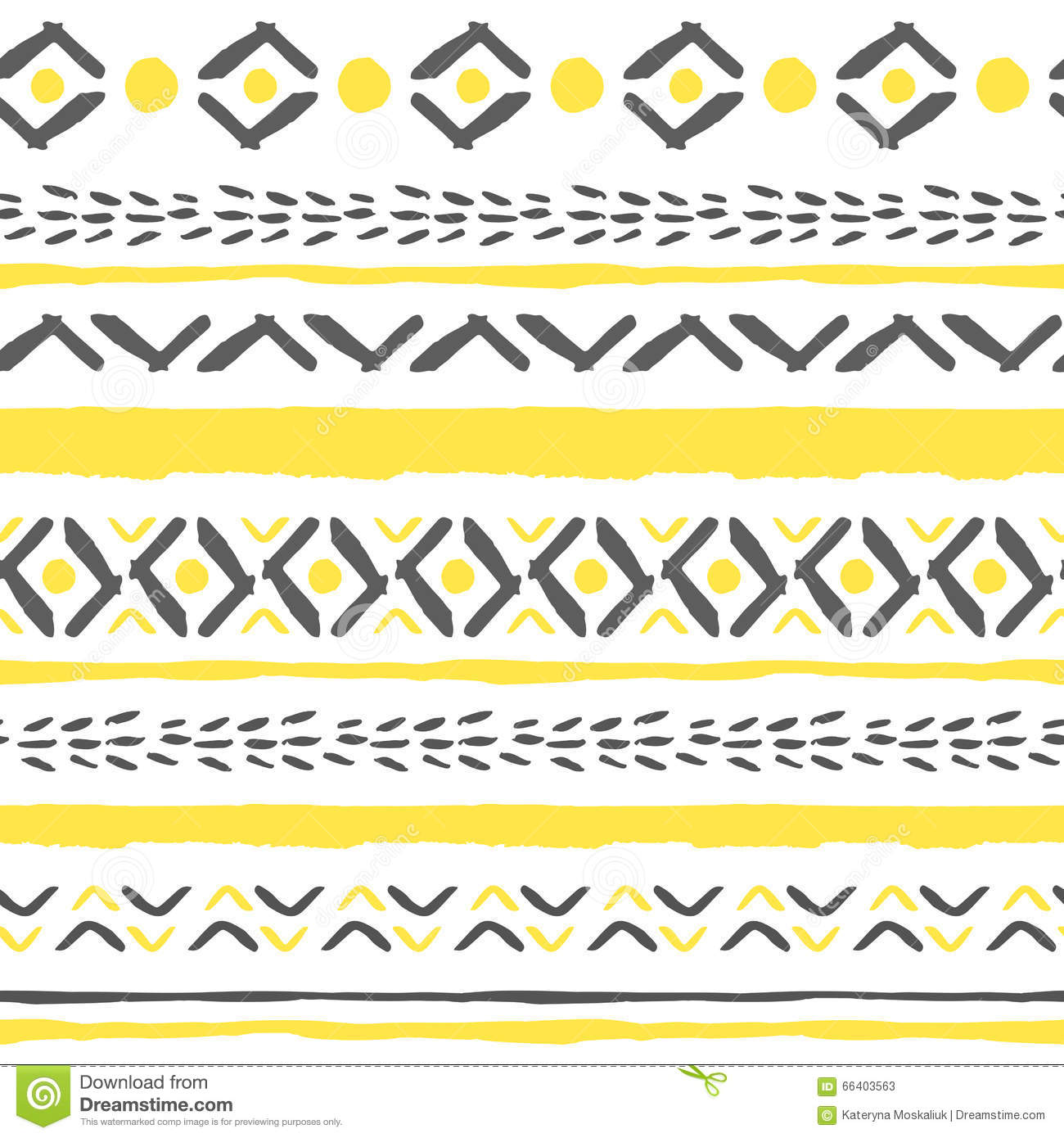 Vector hand drawn tribal boho pattern.