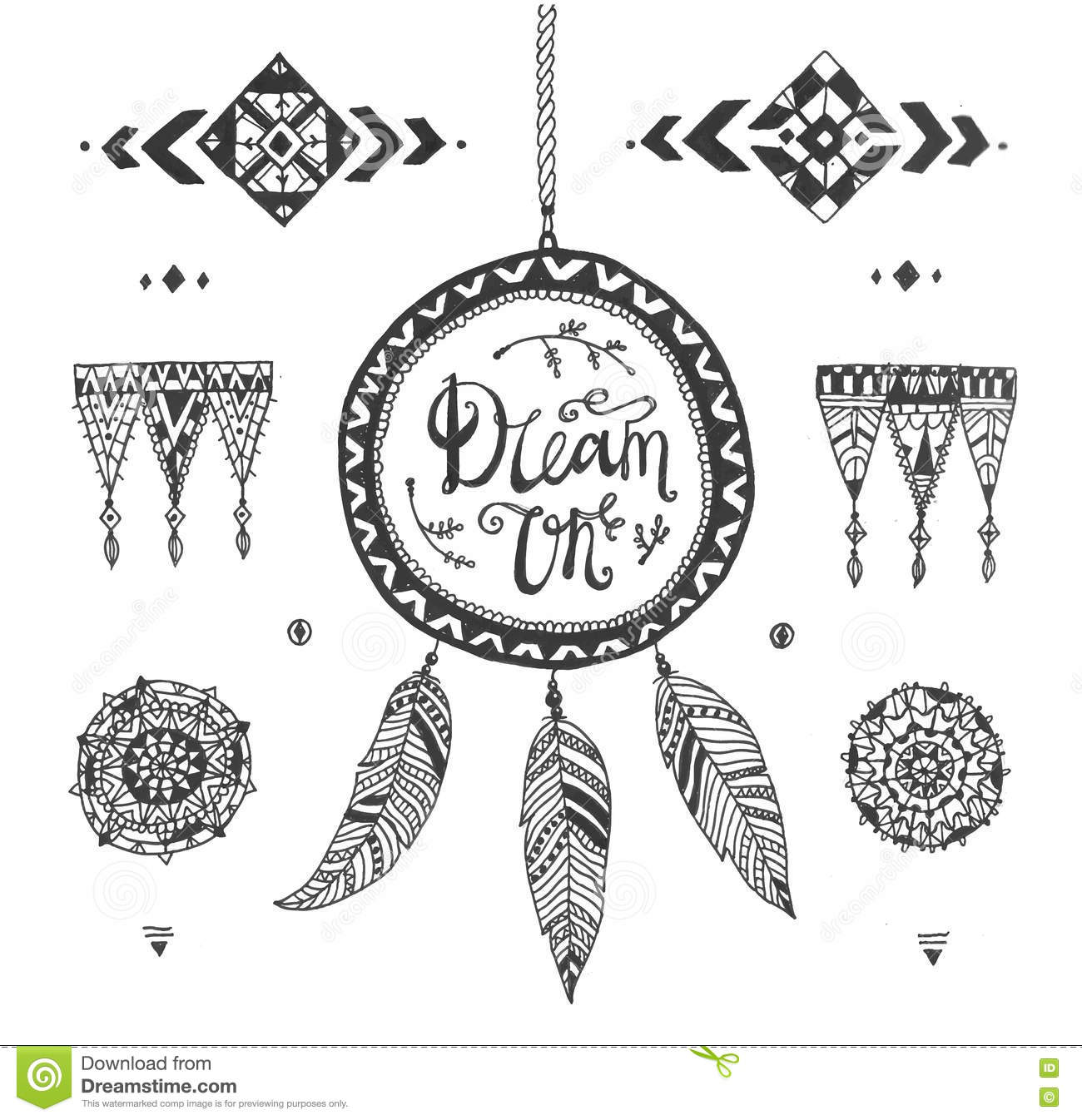 Aztec vector symbols stock vector illustration of accurate 37175558 vector hand drawn tribal patterns with stroke line decorative elements feathers geometric buycottarizona