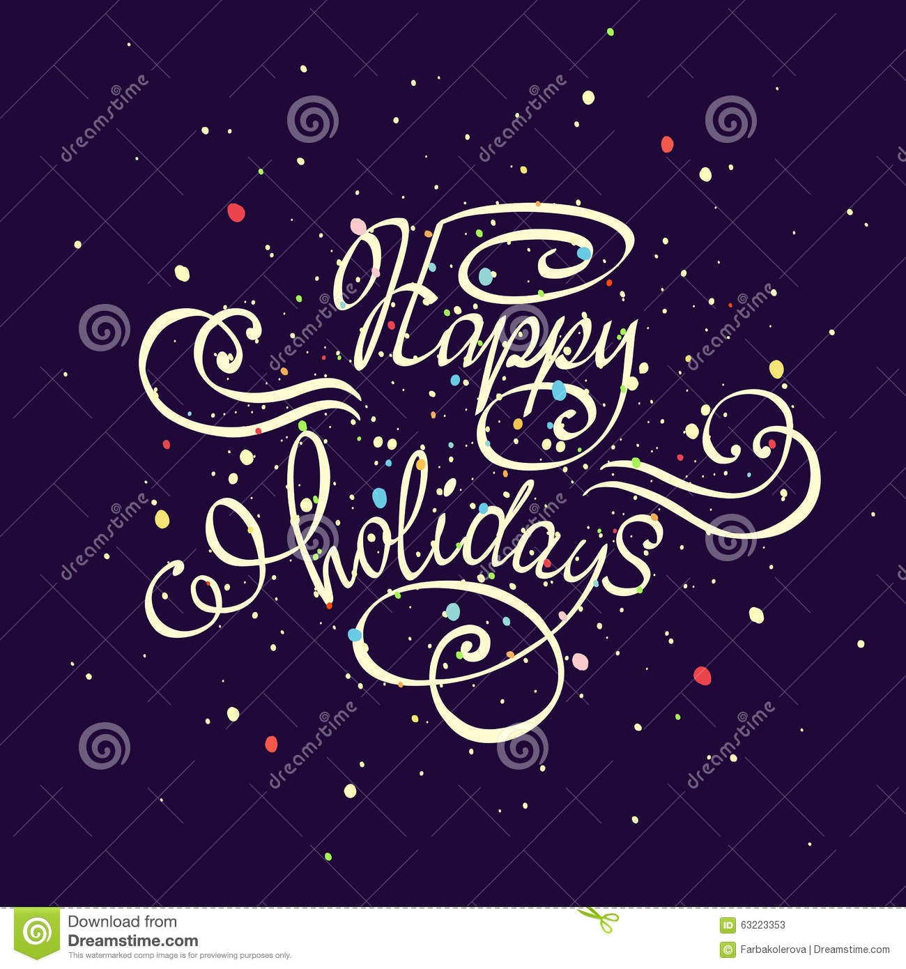 Vector Hand Drawn Typography Poster Happy Holidays Greetings Hand