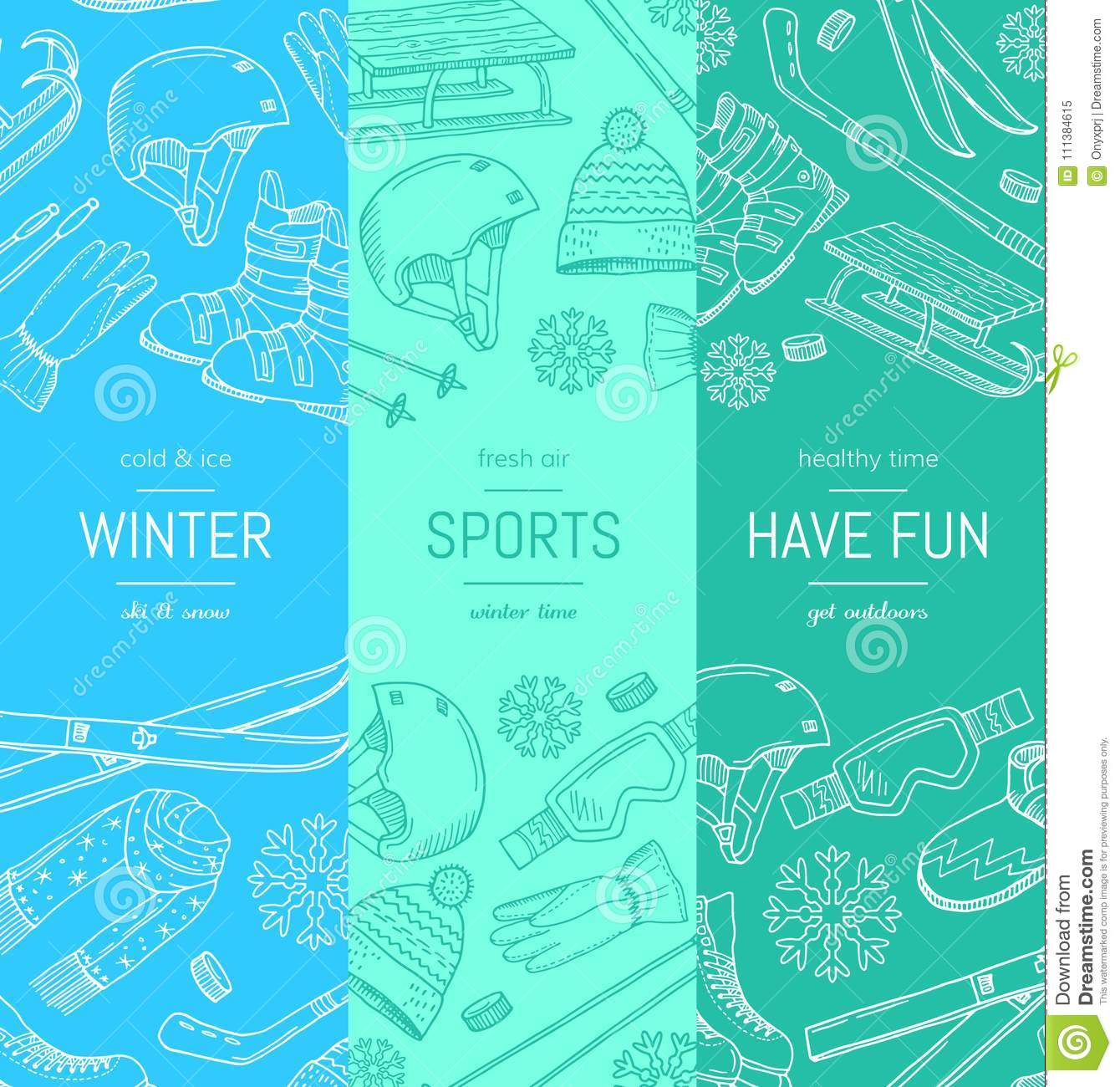 Vector hand drawn winter sports equipment and attributes vertical download vector hand drawn winter sports equipment and attributes vertical banner templates stock vector illustration maxwellsz