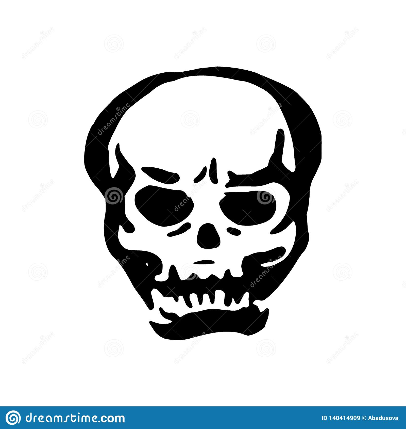 Vector hand drawn Witch and magic item skull illustration on white background.