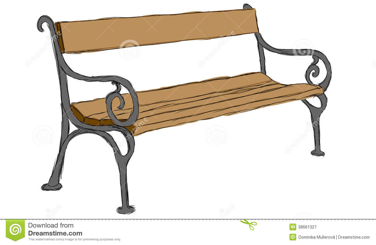 Vector Hand Drawn Wooden Bench Royalty Free Stock Photography - Image ...