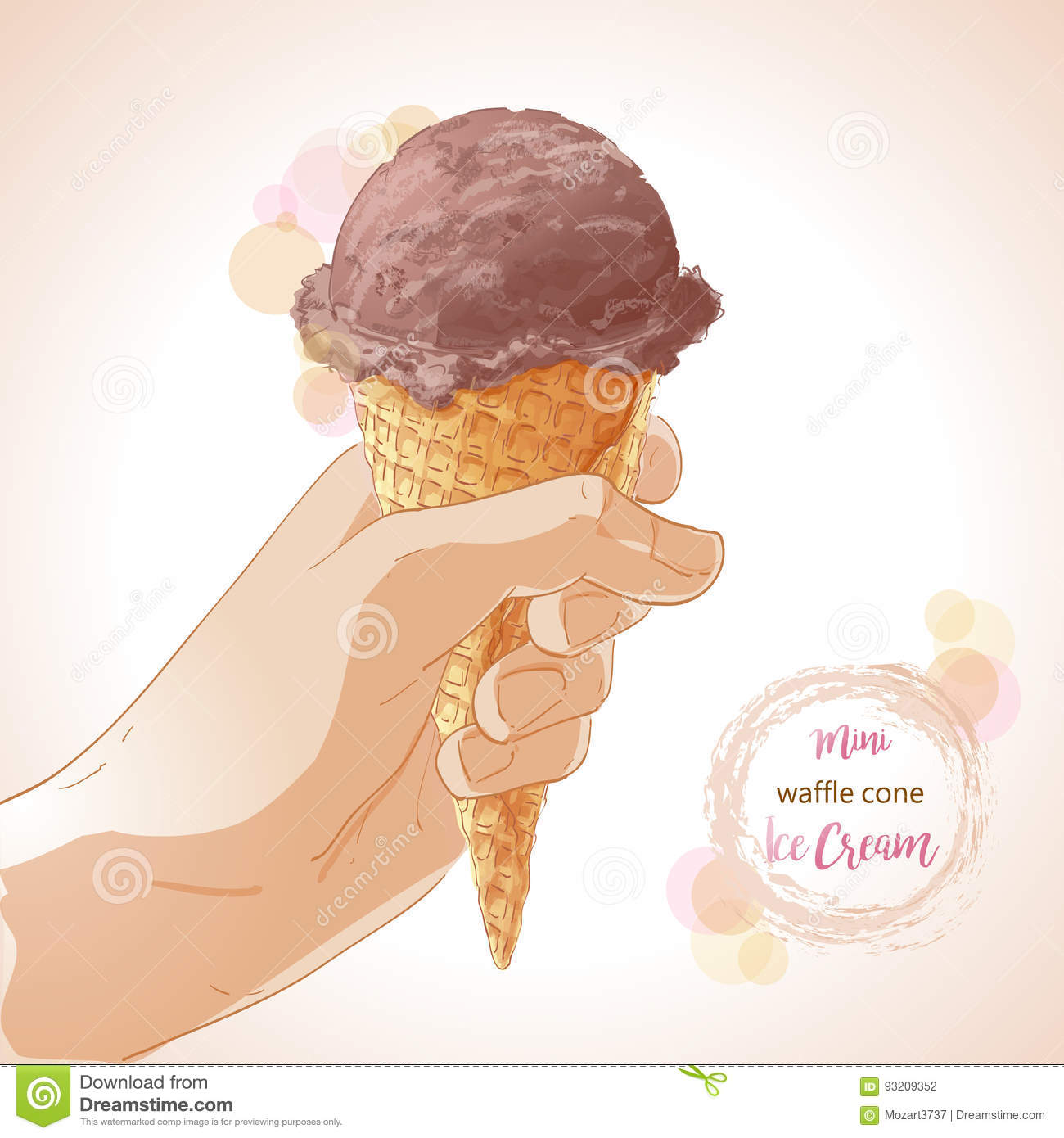 a3799cd1a68 Hand holding tasty ice cream in waffle cone. Vector watercolor illustration.  Isolated objects on a white background