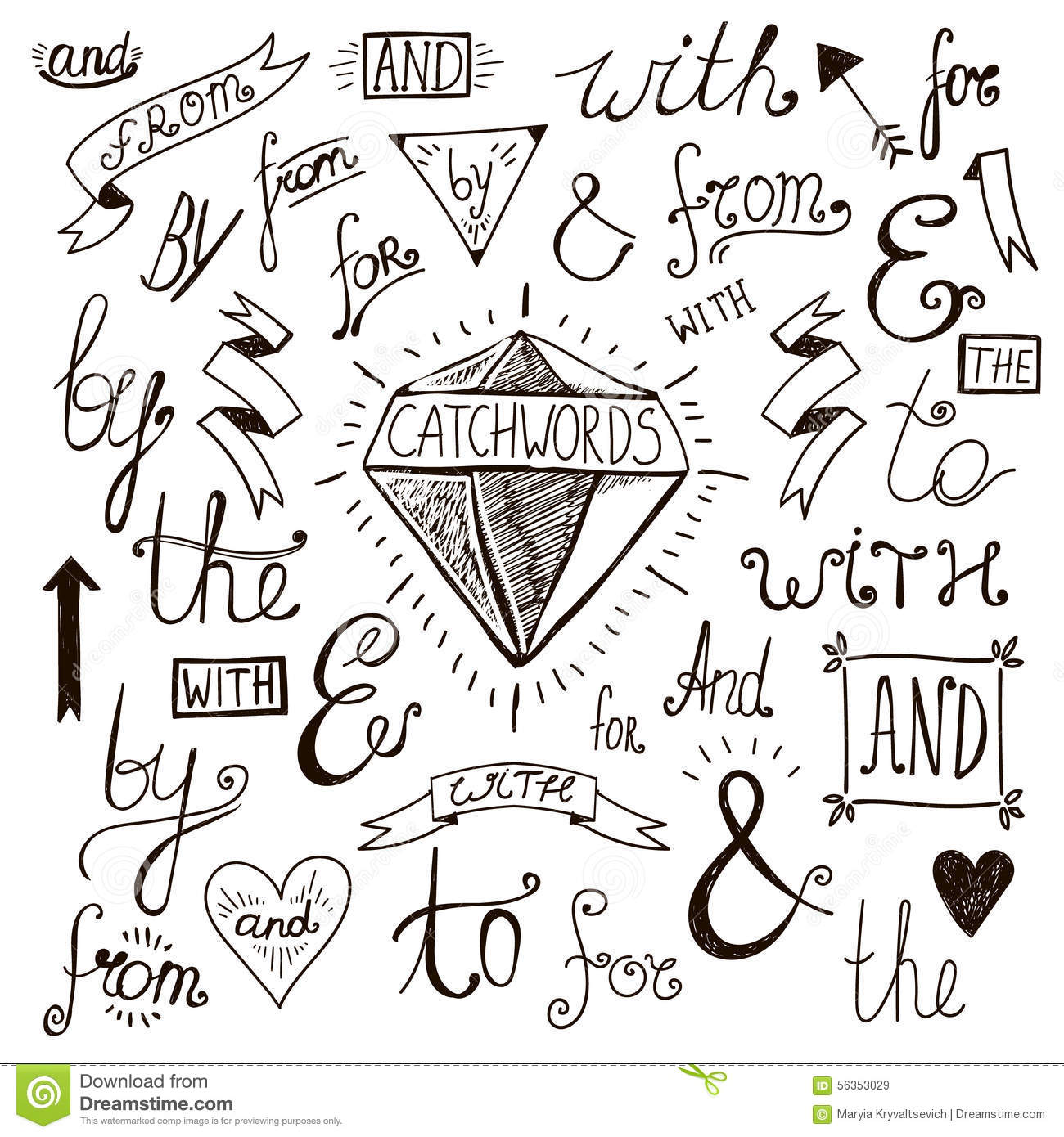 Vector Hand Lettered Drawn Ampersands And Royalty Free Stock Images