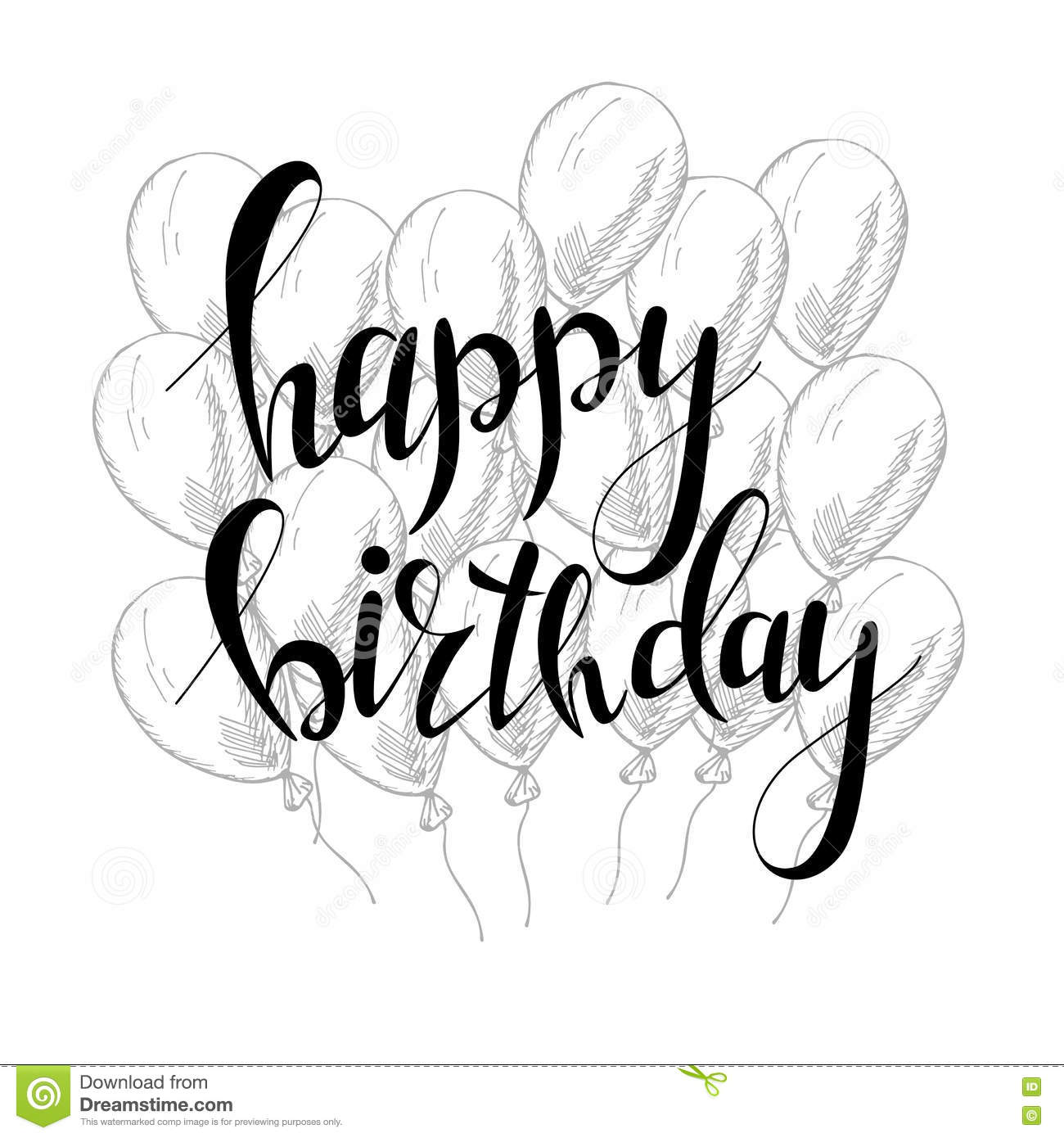 Vector Hand Lettering Happy Birthday Greeting Card With Calligraphy
