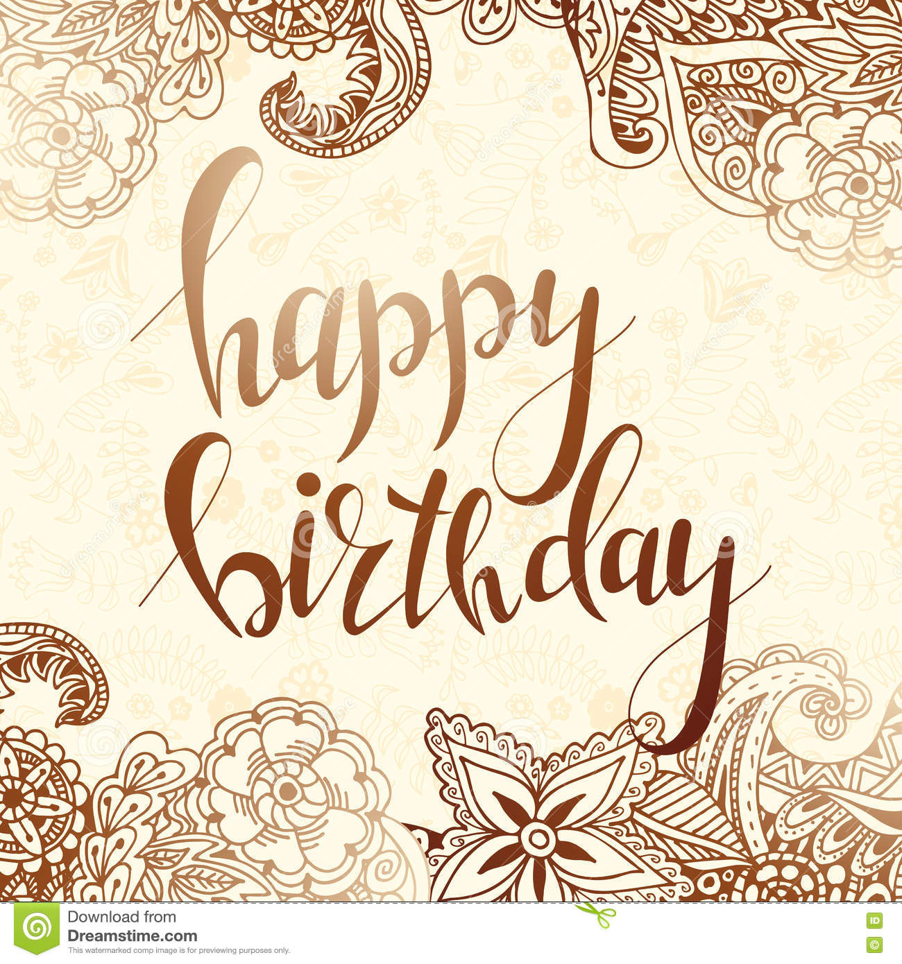 Vector Hand Lettering Happy Birthday Greeting Card With Calligraphy Design Black And White Overlay
