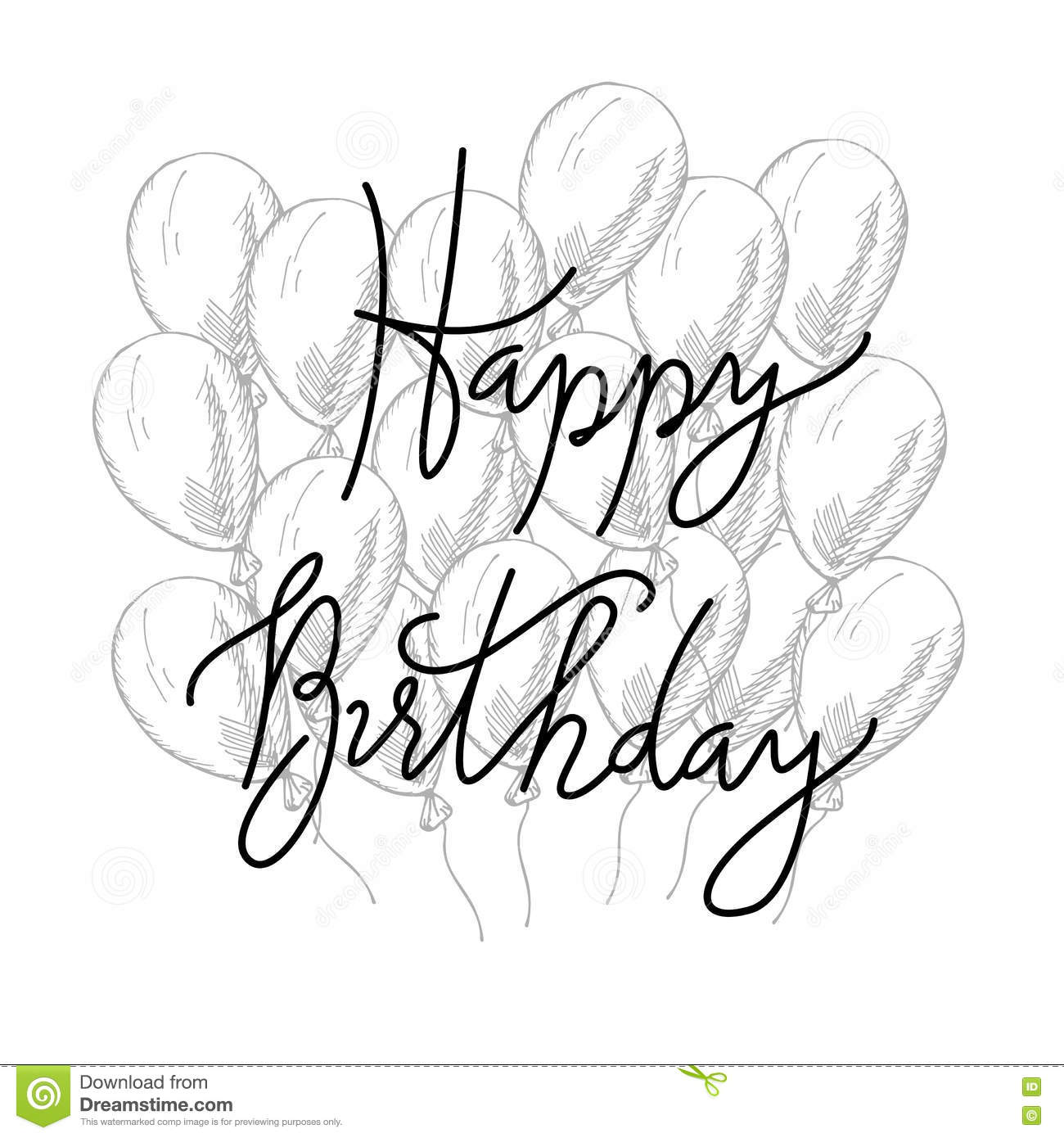 Vector hand lettering happy birthday greeting card with calligraphy happy birthday greeting card with calligraphy design black and white overlay celebration expression kristyandbryce Image collections