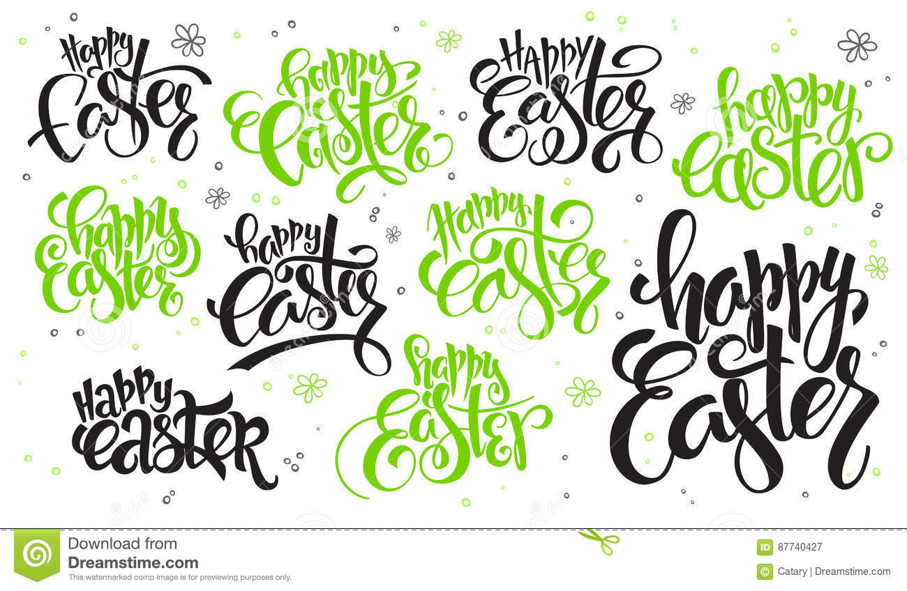 Vector Hand Lettering Happy Easter Text Set Written In Various