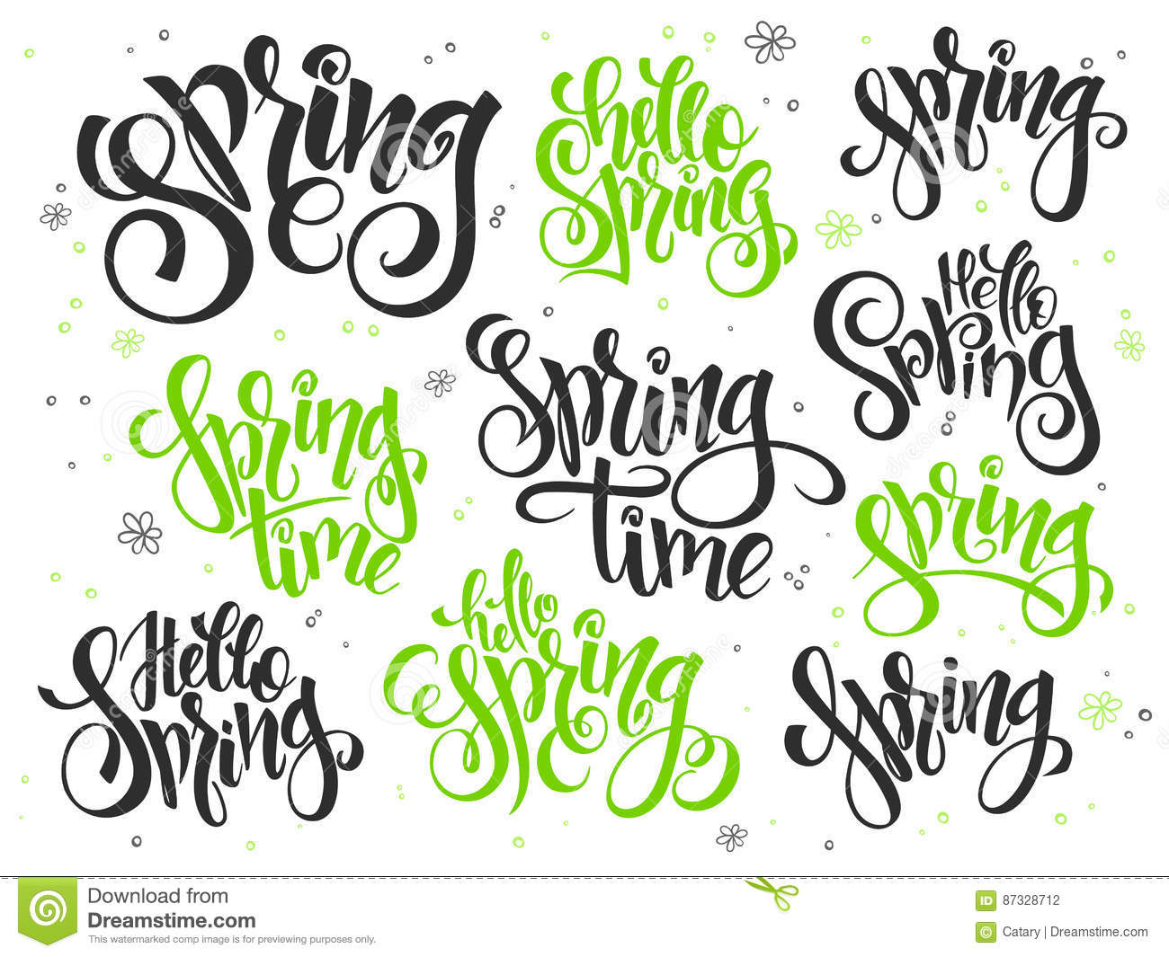 Vector Hand Lettering Hello Spring Text Set Written In Various Styles With Doodle Flowers And Bubbles