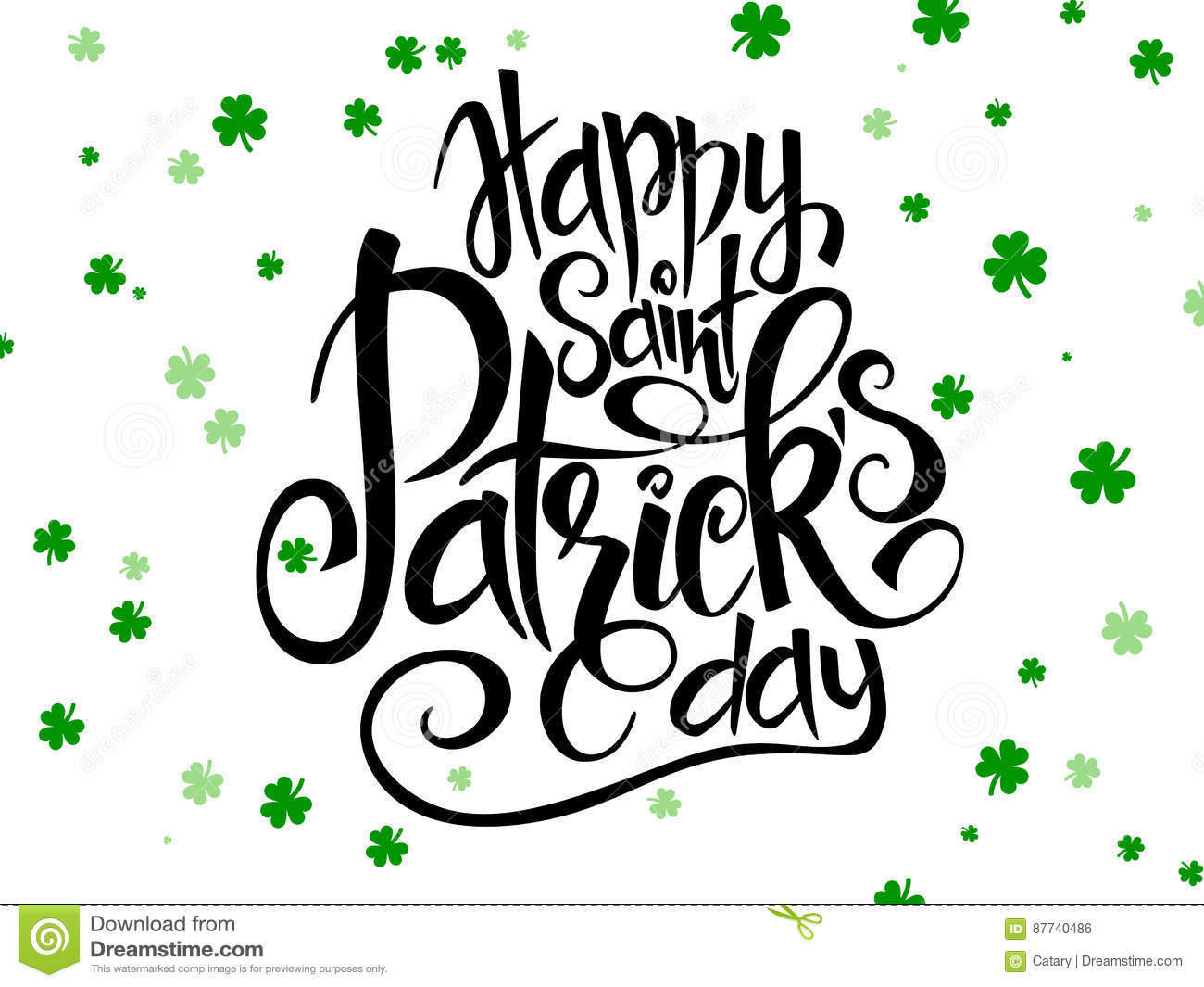 Vector hand lettering saint patricks day greetings text with clover download vector hand lettering saint patricks day greetings text with clover shapes stock vector illustration m4hsunfo