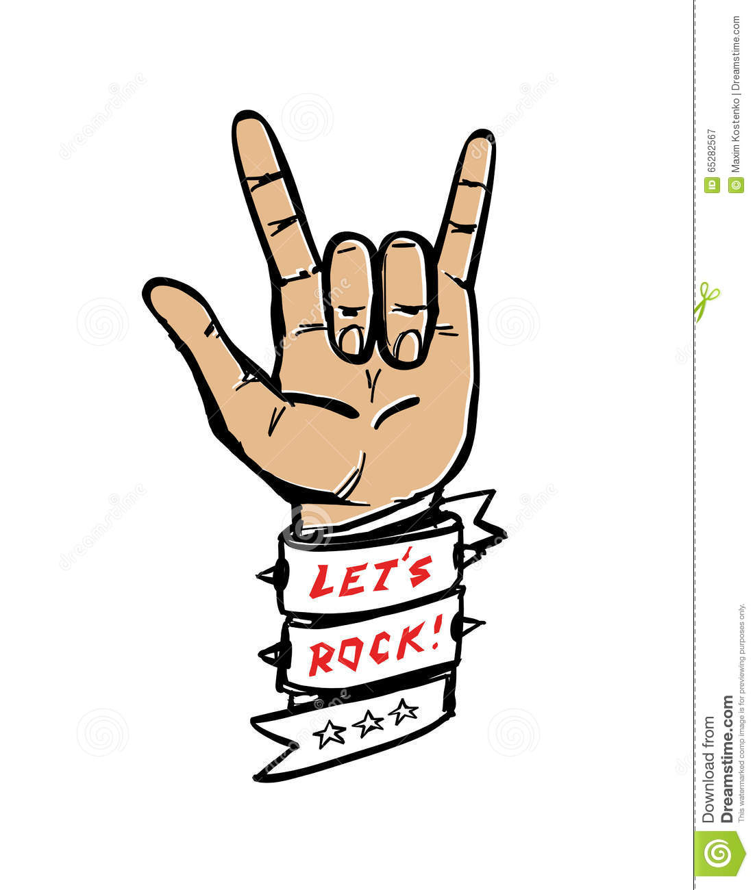 Vector Hand Rock Illustration Stock Vector - Image: 65282567
