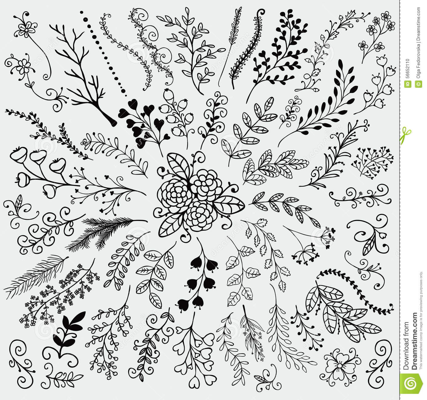 Vector Hand Sketched Rustic Floral Doodle Branches Stock