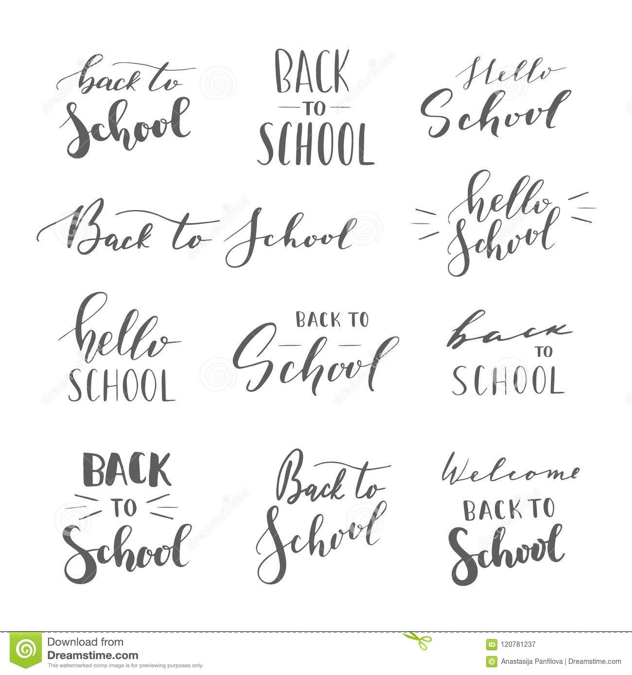 School Time Quotes: School Phrases. Stock Vector. Illustration Of Hand, Autumn