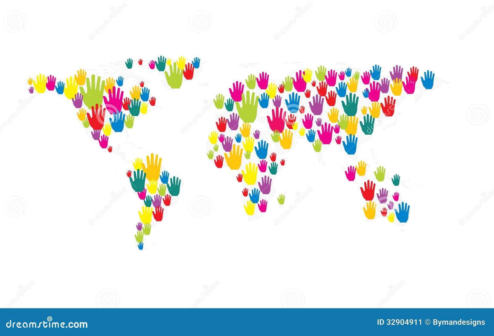 Vector hands world map stock vector illustration of image 32904911 vector hands world map gumiabroncs Images