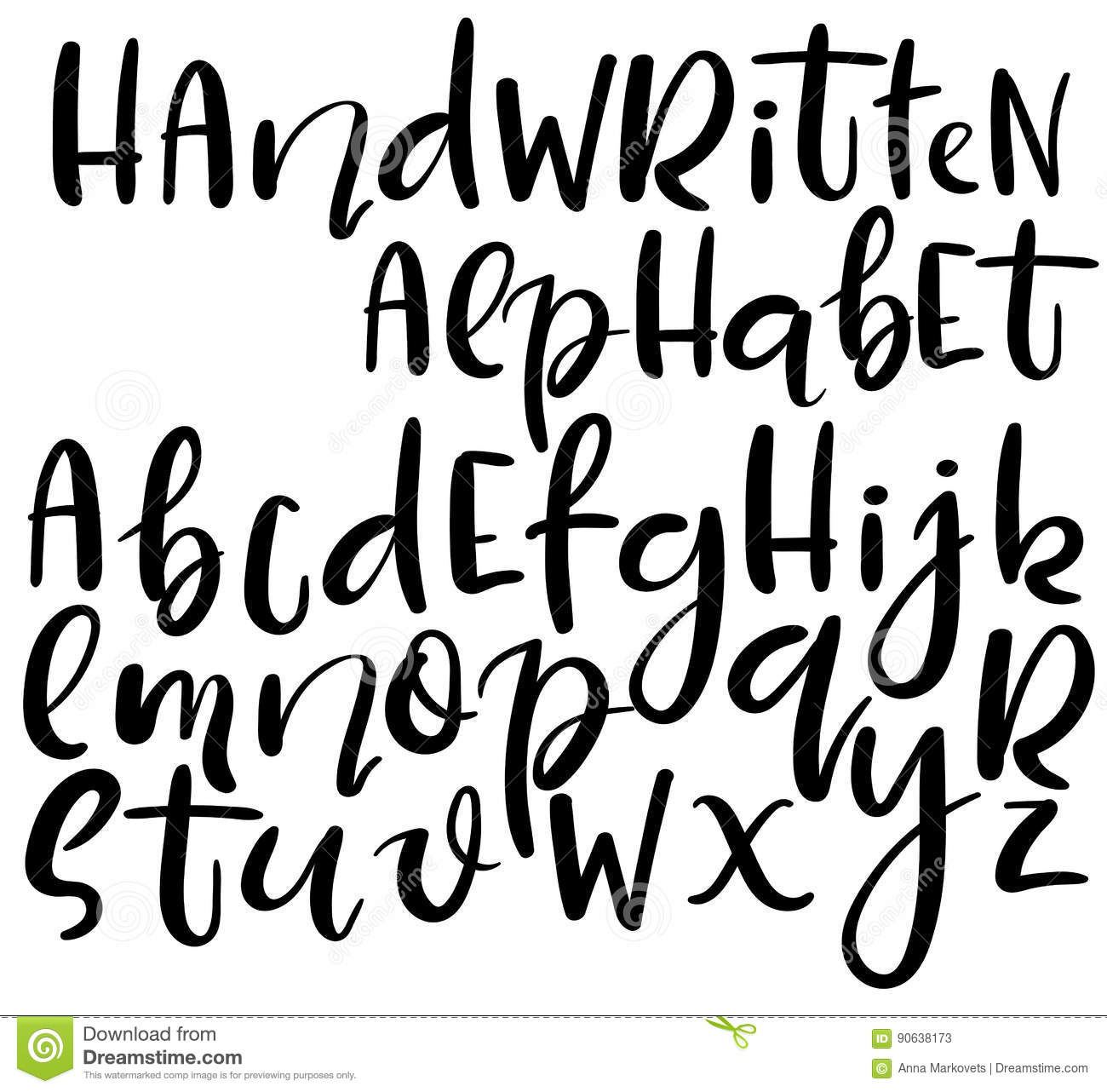 Vector Handwritten Alphabet Different Style Of Letters Doodle Abc