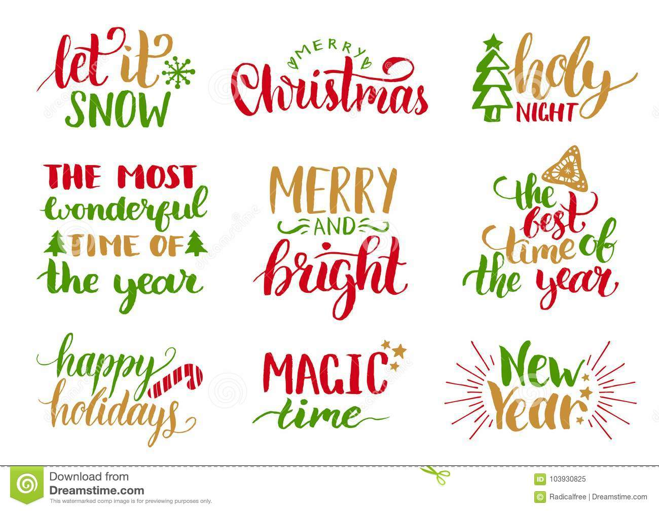 Vector Handwritten Christmas And New Year Calligraphy Set With Fest ...