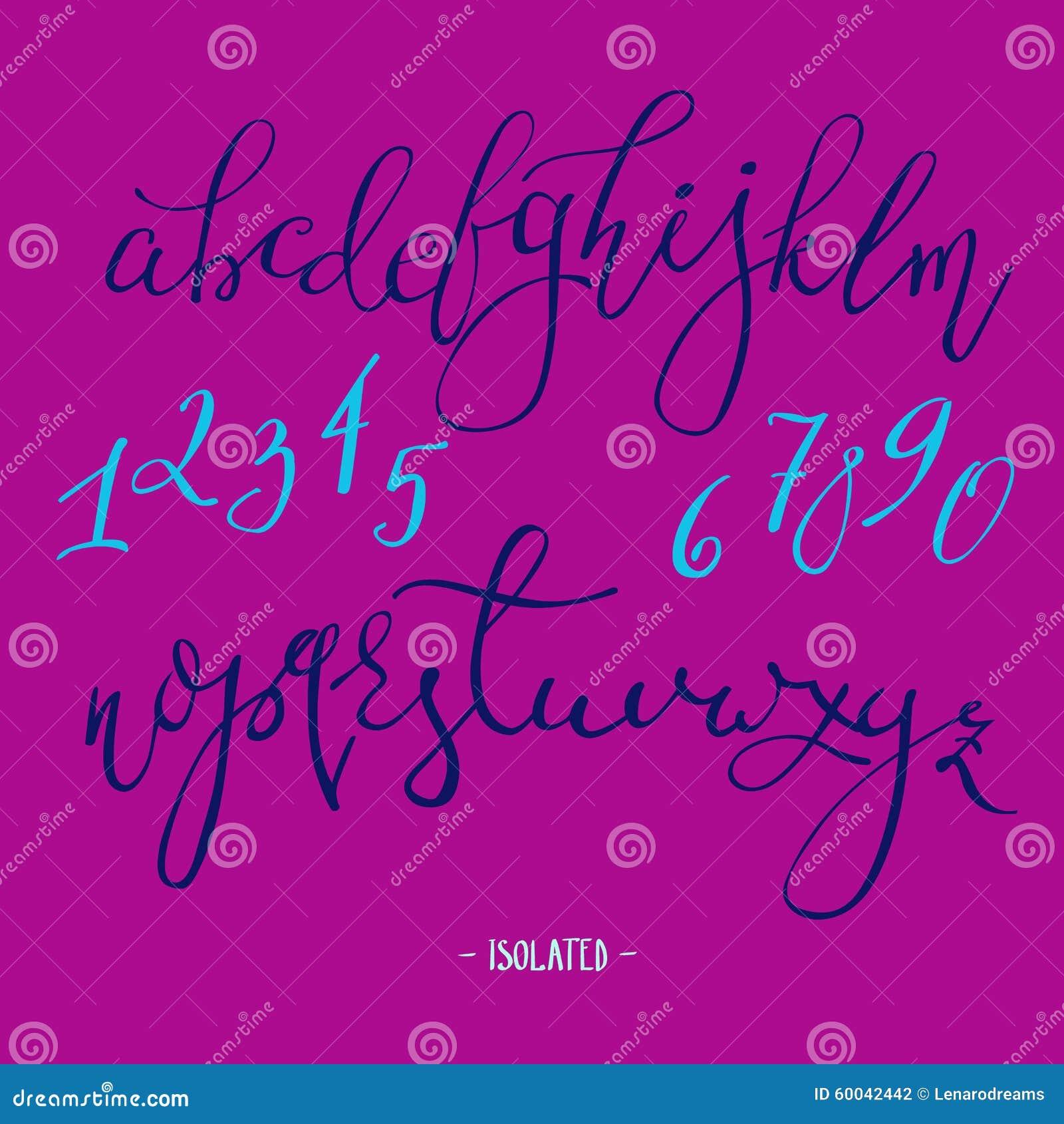 Vector handwritten fountain pen font stock illustration