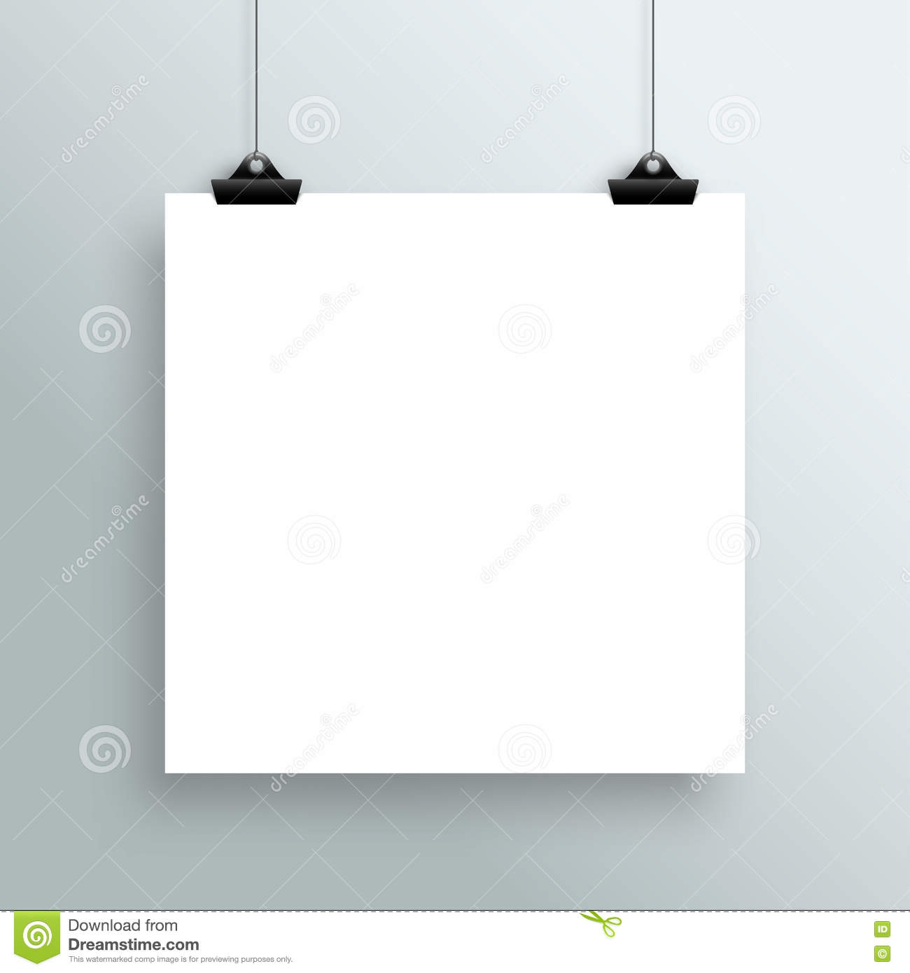 Vector Hanging Blank White Square Poster From Clips Stock Vector