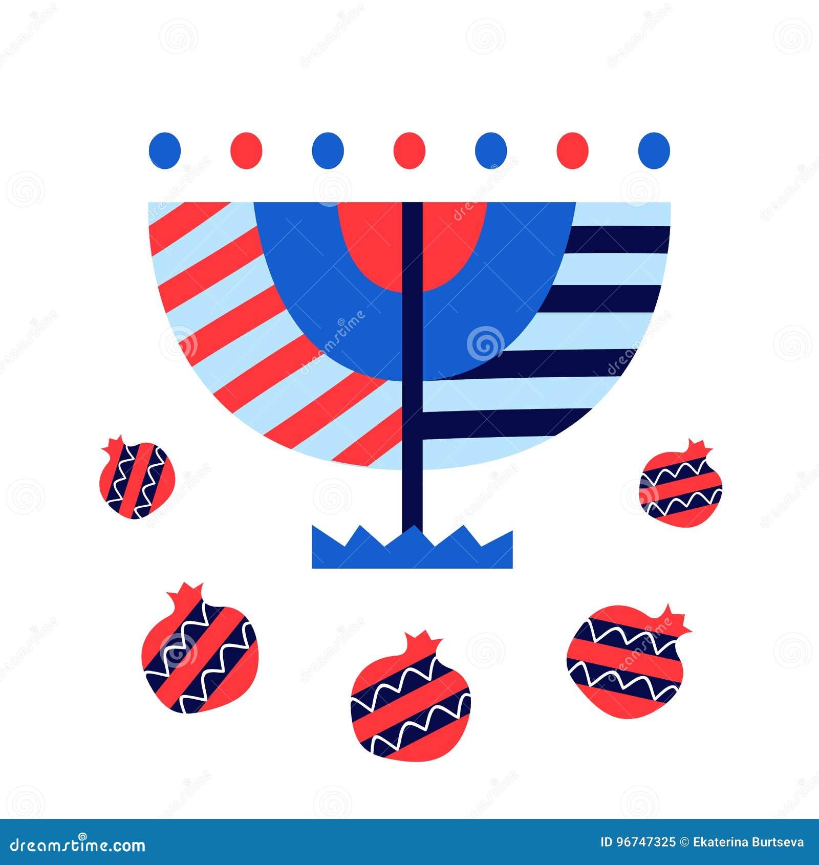 Vector Hanukkah Menorah And Pomegranates Icons Isolated On White