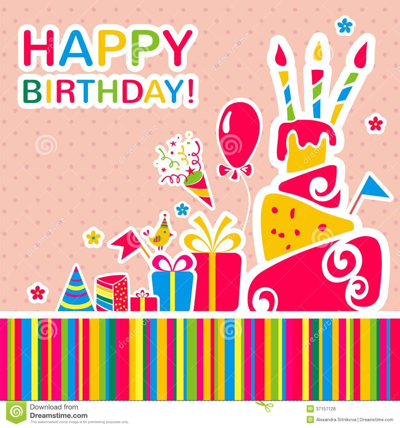 Vector Happy Birthday Background. Greeting Card Stock