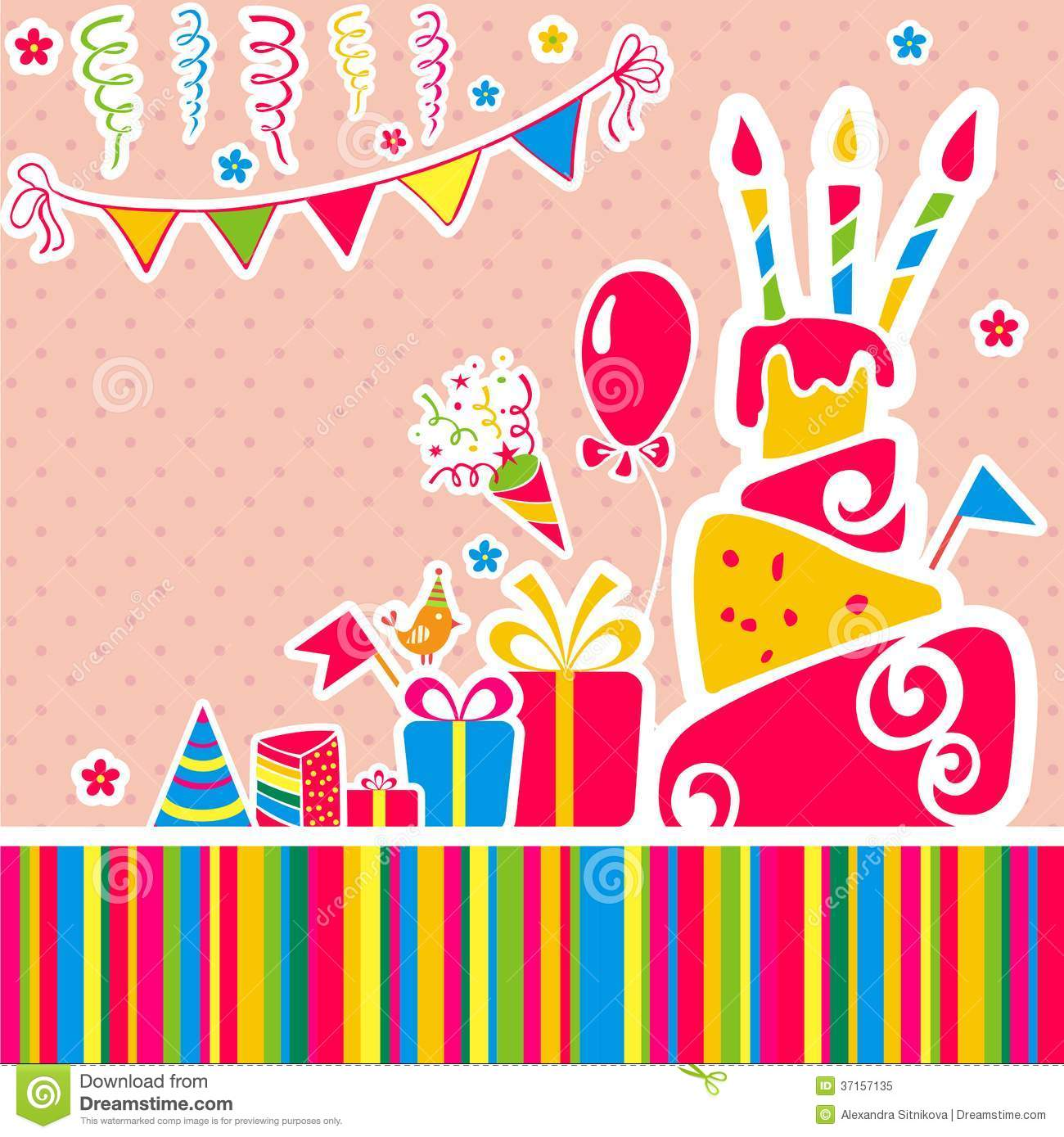 Vector Happy Birthday Background. Greeting Card Royalty