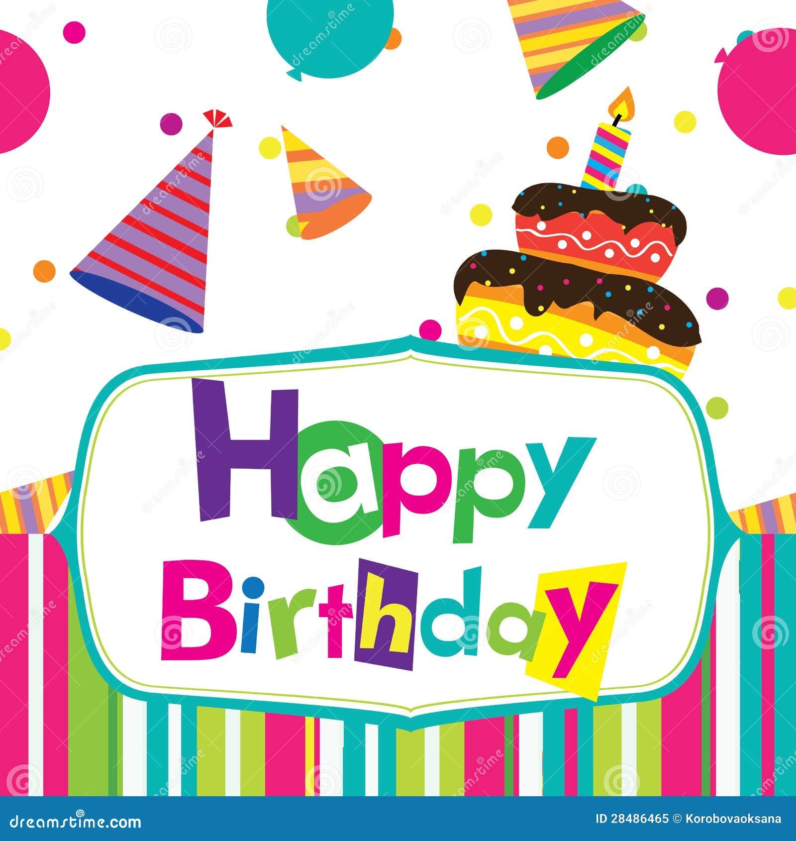 Vector Happy Birthday Card Stock Vector. Illustration Of
