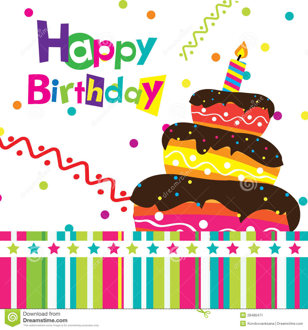 Vector Happy Birthday Card Stock Vector Illustration Of