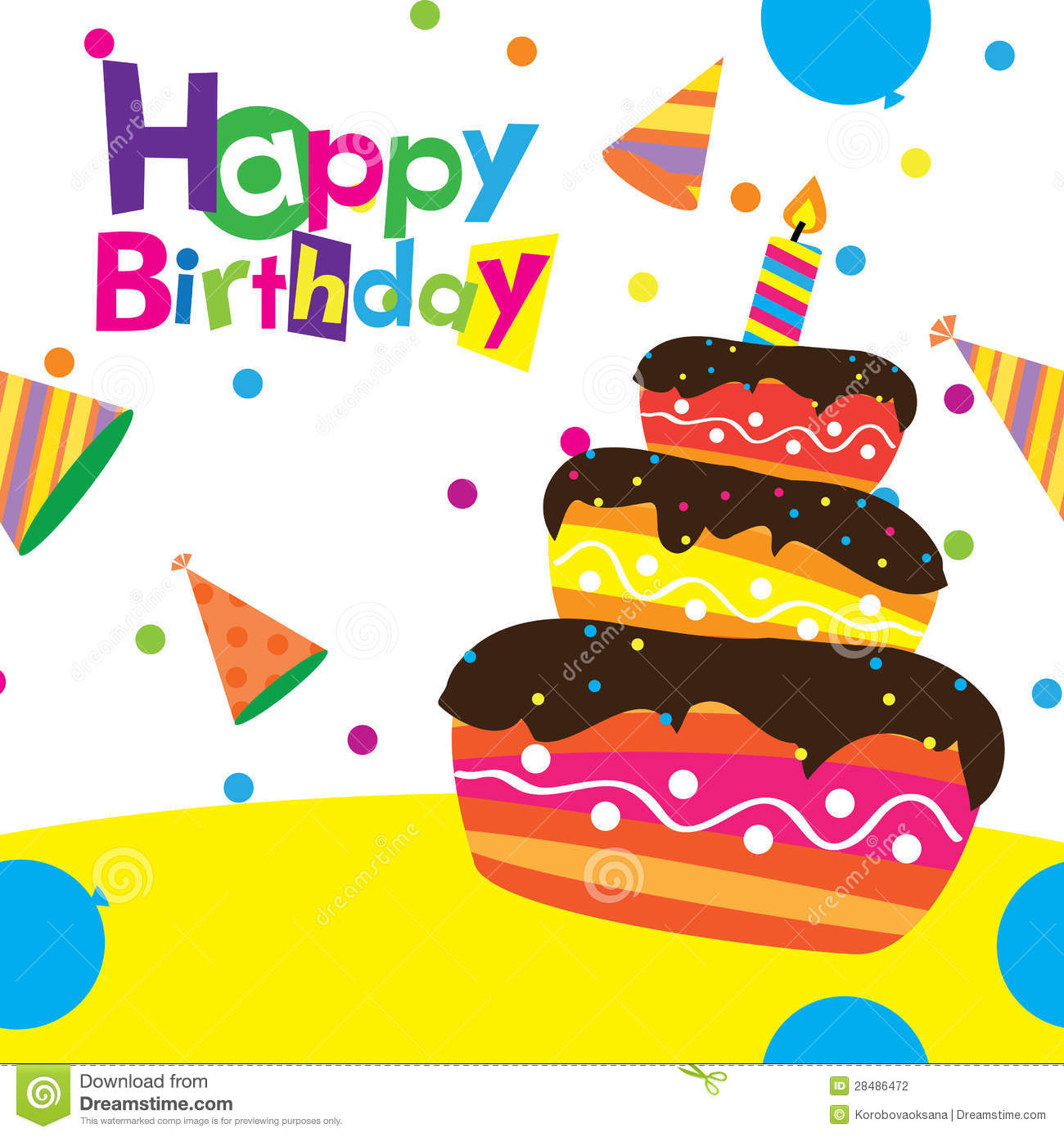 Birthday Cards Vector ~ Vector happy birthday card stock illustration of digital