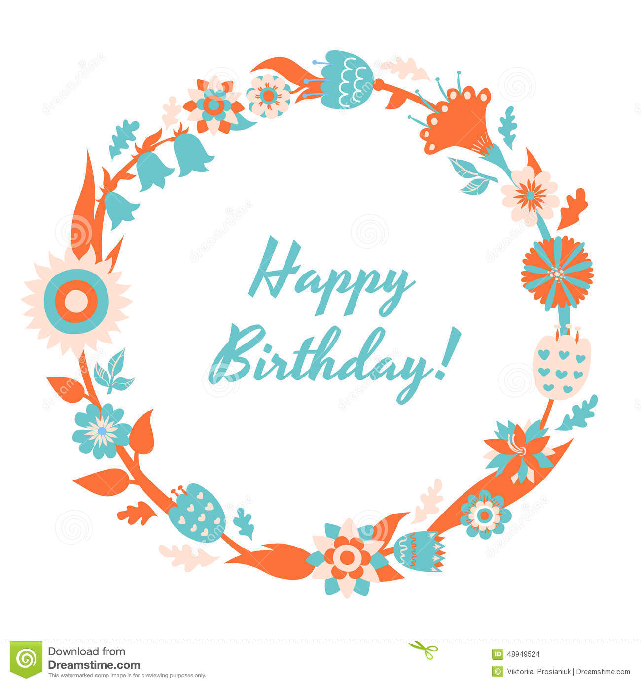 Vector Happy Birthday Card And Background With Floral Frame Stock