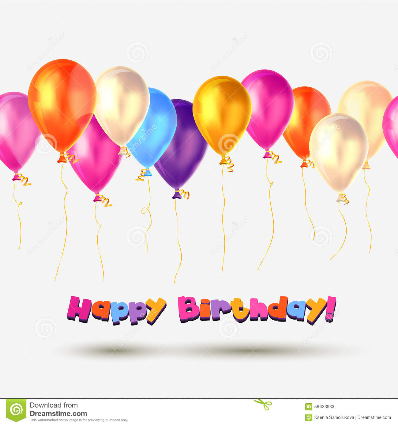 Happy Birthday Card With Balloons Royalty Free Photography – Birthday Cards Balloons