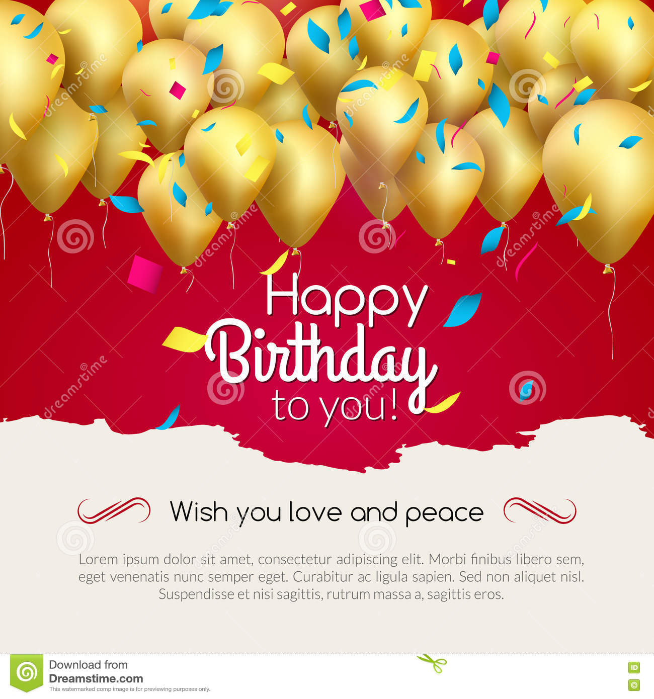 Vector Happy Birthday Card With Golden Balloons And Confetti, Party ...