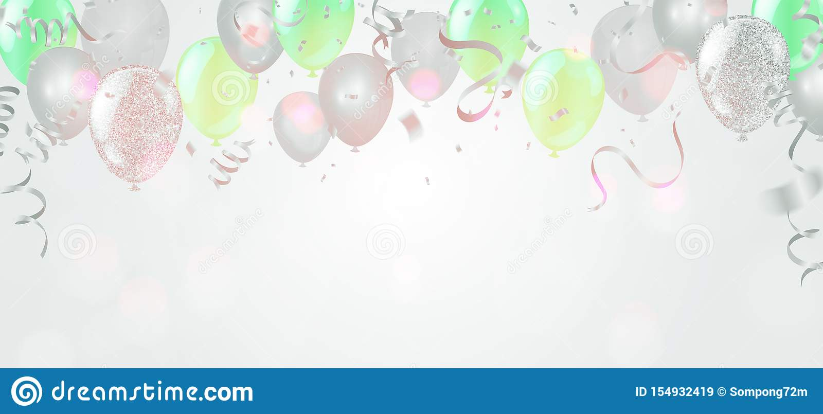 Vector Happy Birthday Card With Green Balloons Party