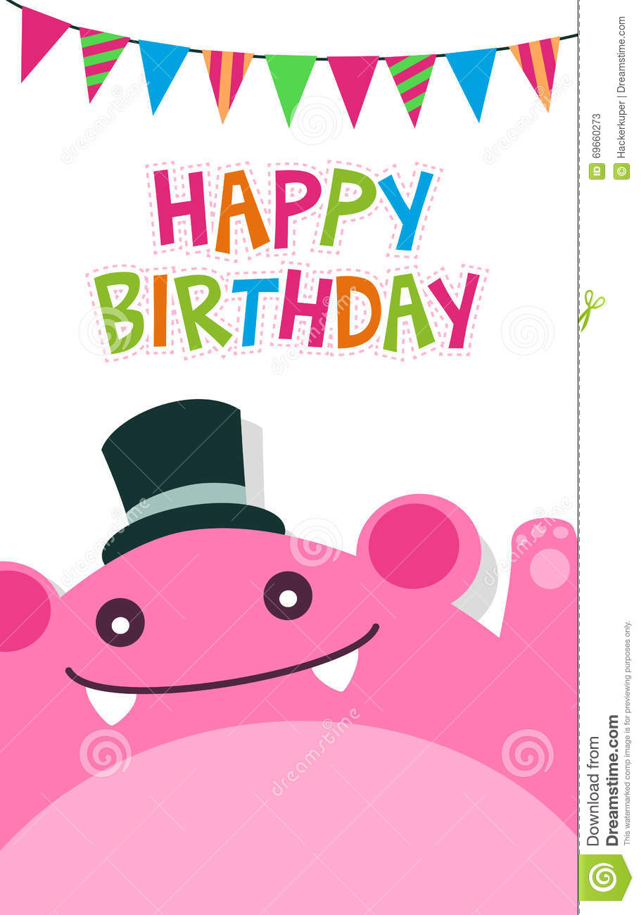 Vector Happy Birthday Card Template With Cute Pink Monster And – Happy Birthday Card Template Free Download