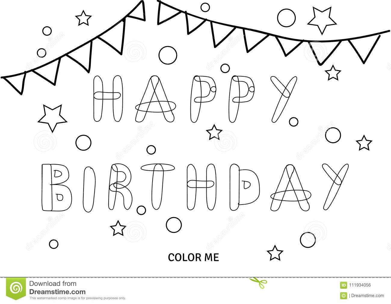 - Vector Happy Birthday Coloring Card Stock Vector - Illustration Of