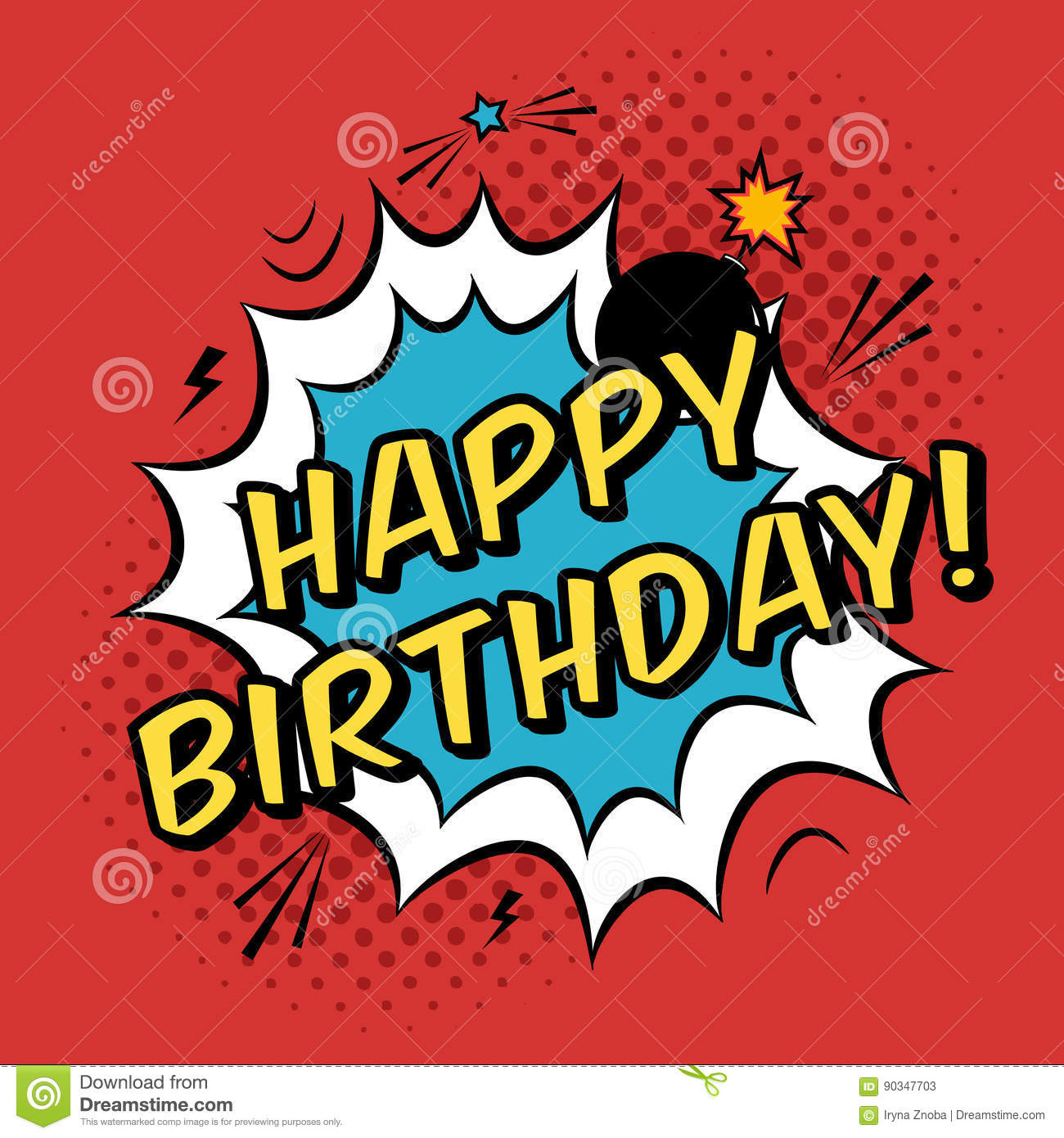 Vector Happy Birthday Greeting Card In Comic Book Style Stock Vector