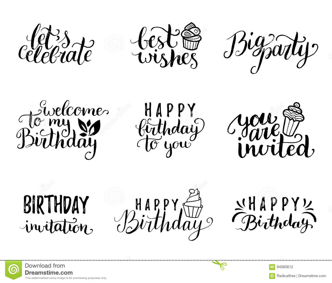Vector Handwritten Happy Birthday Lettering Collection Big Party You Are Invited Best Wishes Etc Calligraphy Set For Greeting Cards Posters